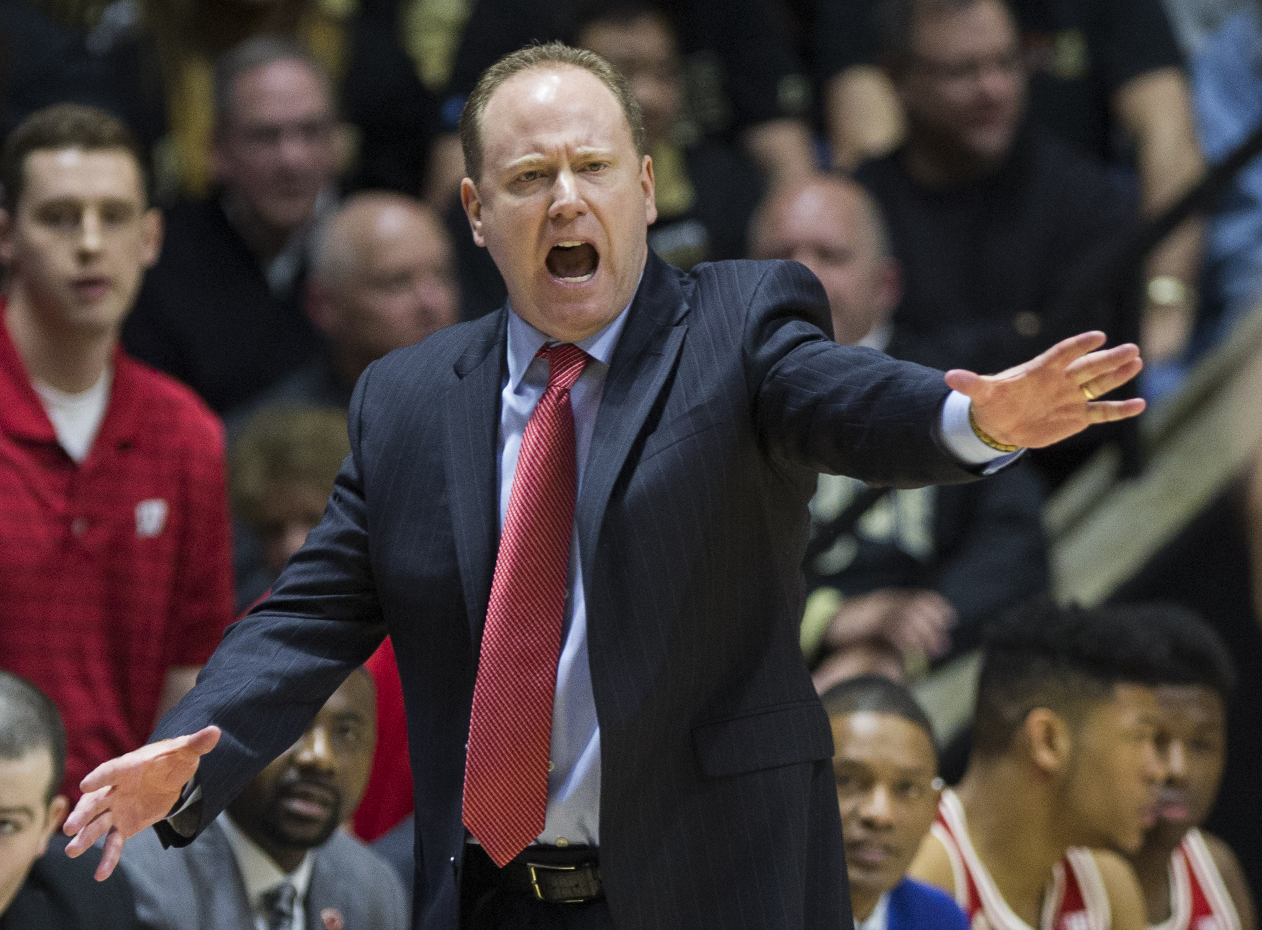 Wisconsin interim head coach Greg Gard yells to players during the second half of Purdue's 91-80 win in an NCAA college basketball game Sunday, March 6, 2016, in West Lafayette, Ind. (AP Photo/Robert Franklin)