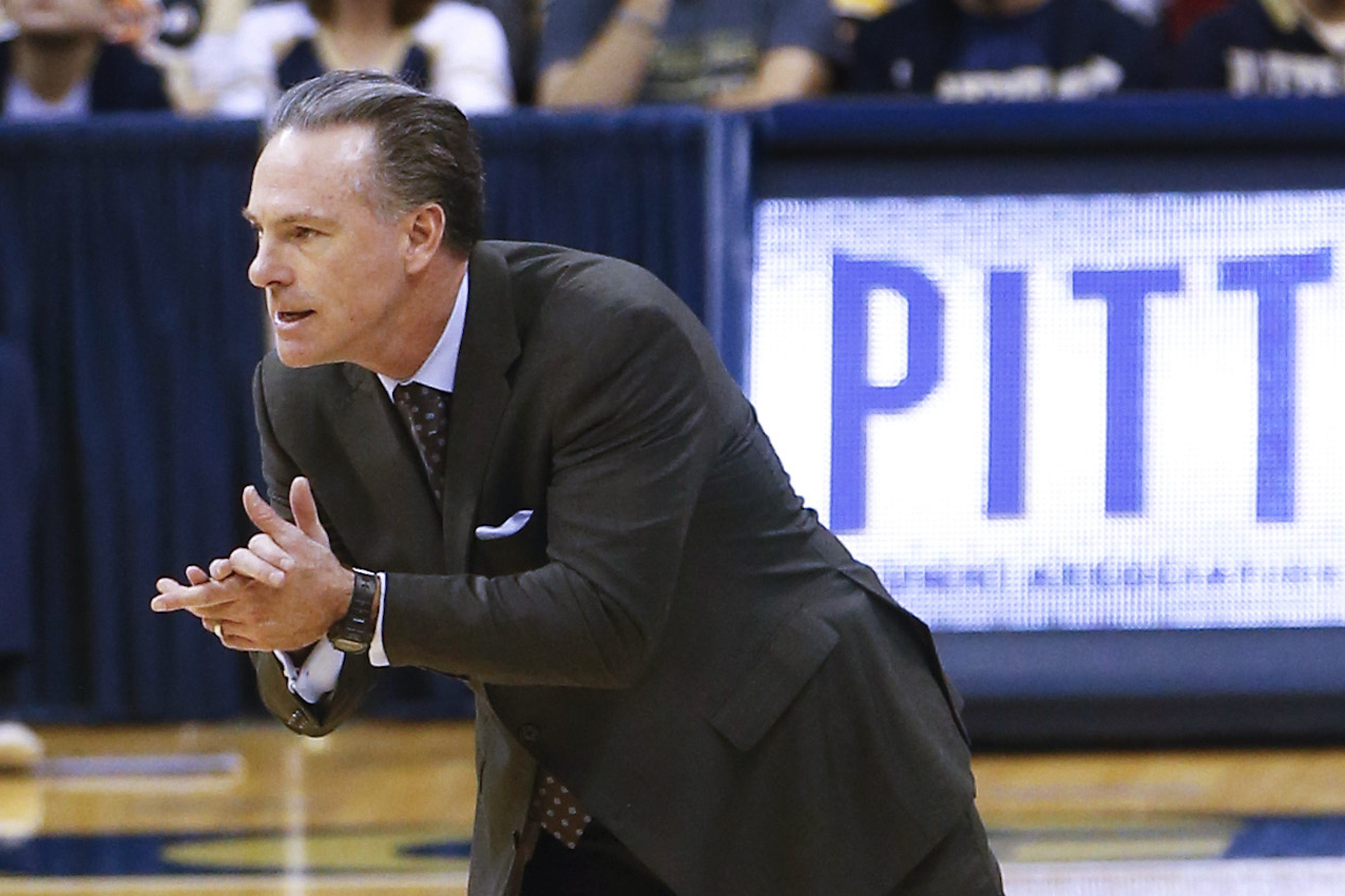 FILE - In this file photo from Dec. 23, 2015, Pittsburgh head coach Jamie Dixon works with his team during an NCAA college basketball game against Western Carolina, in Pittsburgh. The Panthers (20-10, 9-9 ACC) enter the ACC Tournament on a two-game skid a