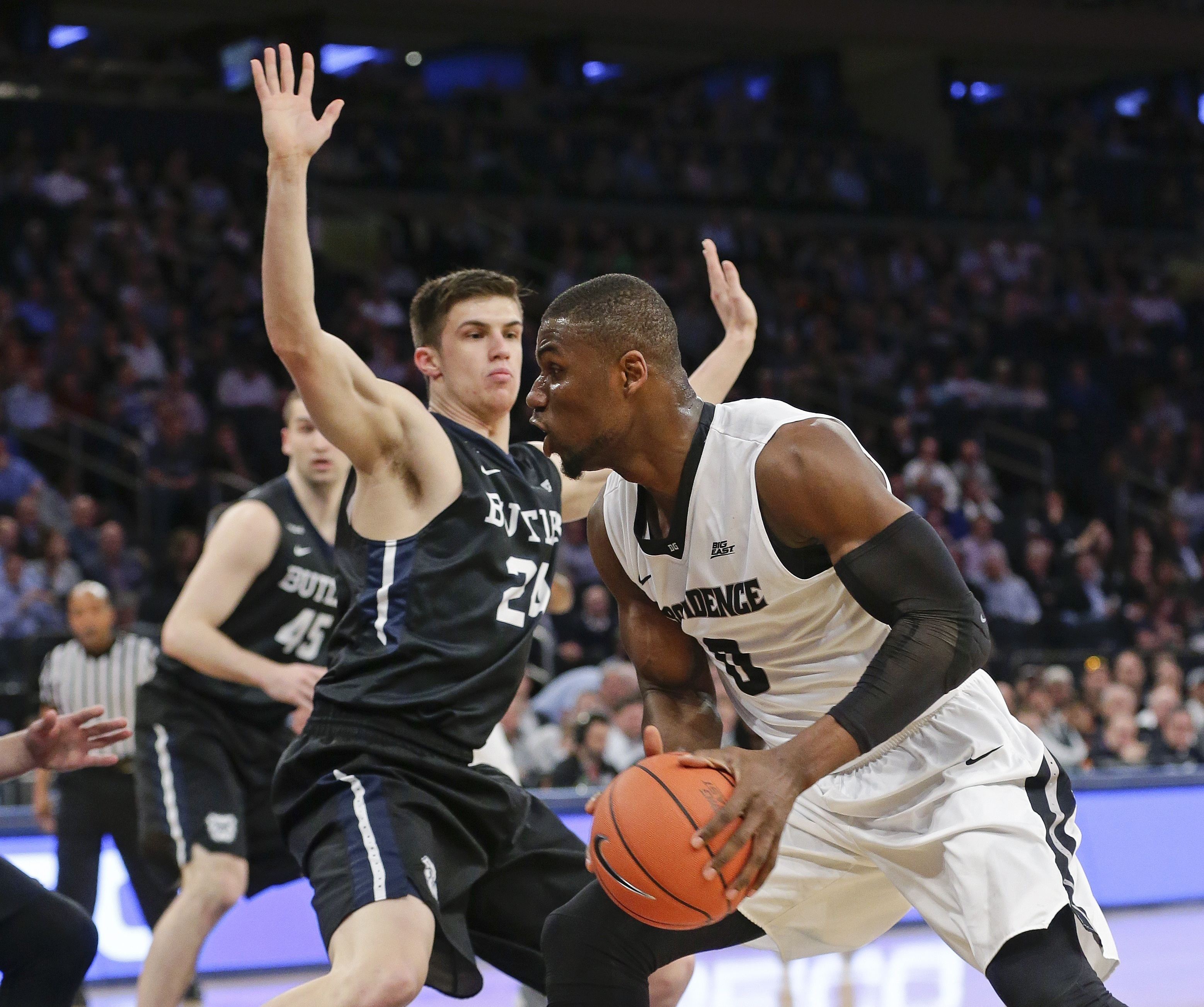 Providence's Ben Bentil (0) drives past Butler's Kellen Dunham (24) during the first half of an NCAA college basketball game during the Big East men's tournament Thursday, March 10, 2016, in New York. (AP Photo/Frank Franklin II)