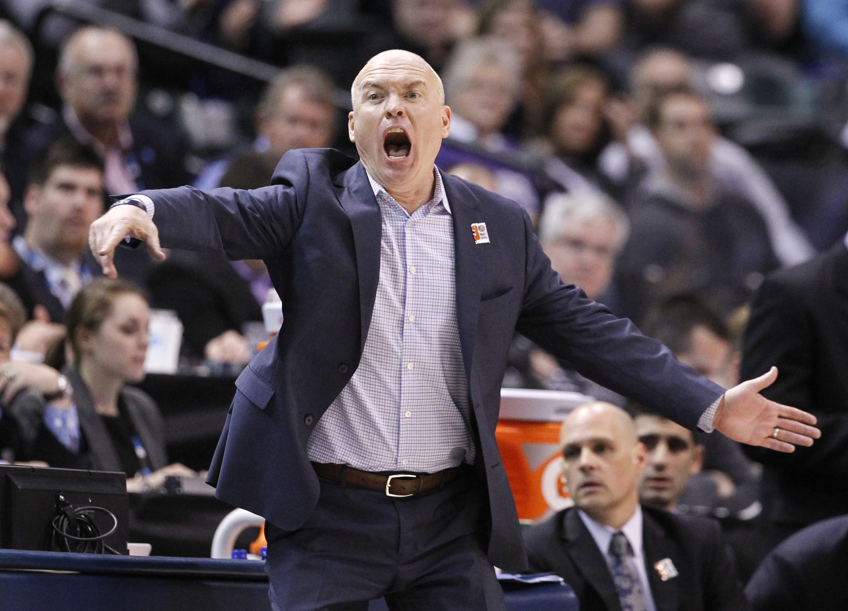 Penn State's head coach Pat Chambers yells in the second half of an NCAA college basketball game against Ohio State at the Big Ten Conference tournament, Thursday, March 10, 2016, in Indianapolis. (AP Photo/Kiichiro Sato)