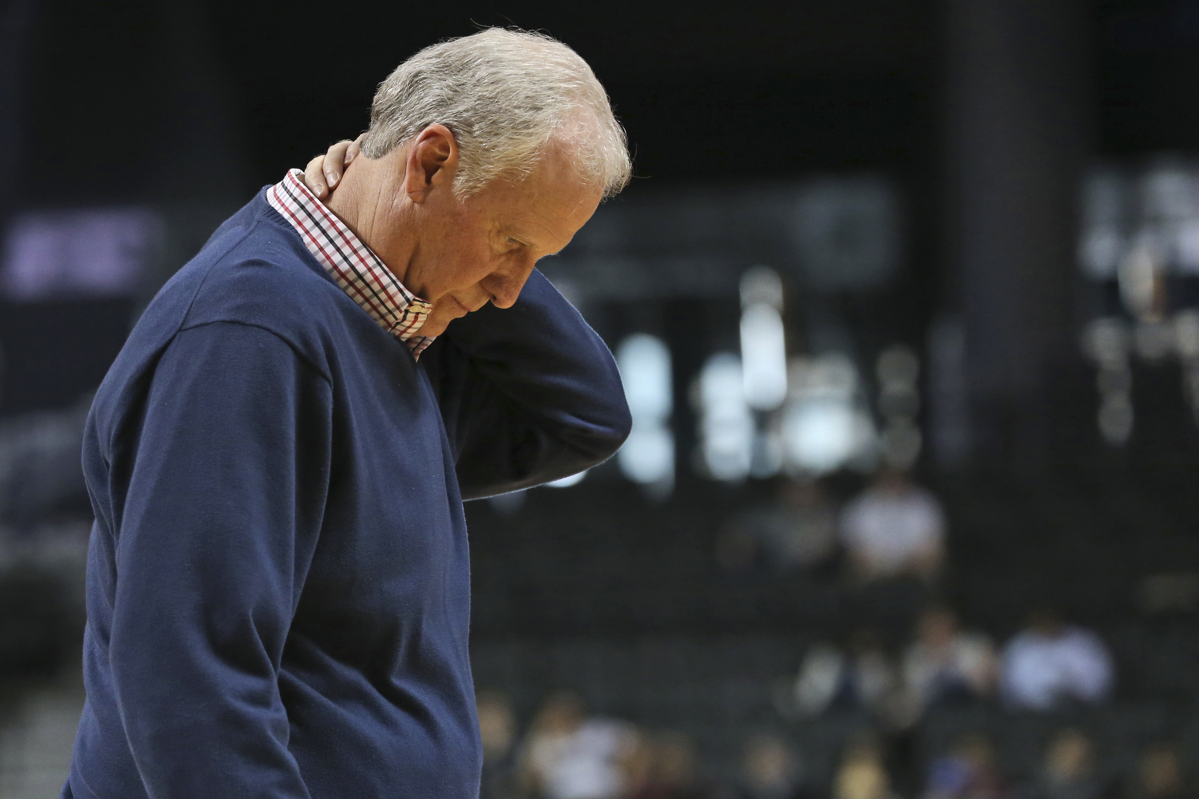 Saint Louis coach Jim Crews reacts to a play during the second half of the team's NCAA college basketball game against George Washington in the Atlantic 10 men's conference tournament, Thursday, March 10, 2016, at New York. Crews was fired after the team'