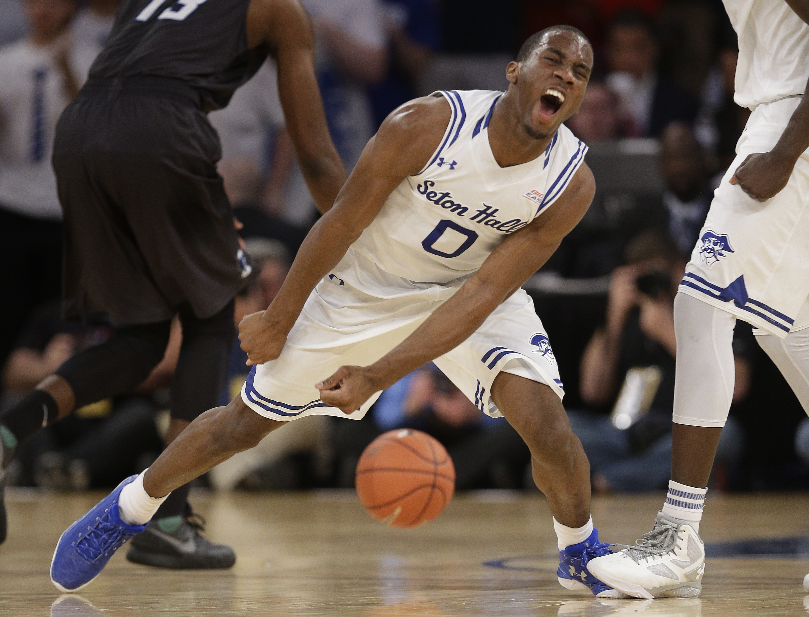 Seton Hall guard Khadeen Carrington (0) reacts after a turnover by Creighton in the first half of an NCAA college basketball game during the Big East men's tournament, Thursday, March 10, 2016, in New York. (AP Photo/Julie Jacobson)