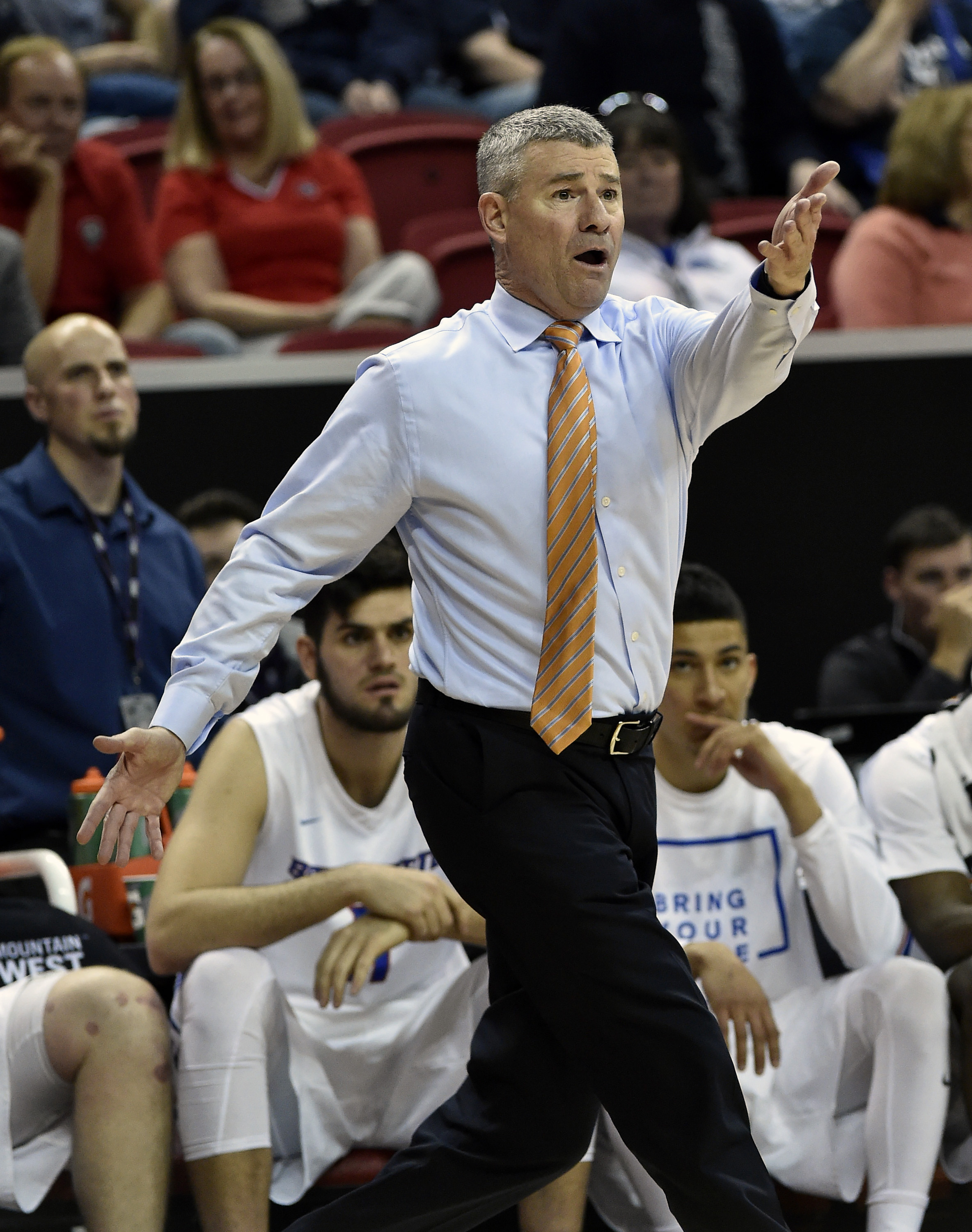 Boise State coach Leon Rice reacts to a call during the second half of the team's NCAA college basketball game against Colorado State in the Mountain West Conference men's tournament Thursday, March 10, 2016, in Las Vegas. Colorado State won 88-81. (AP Ph