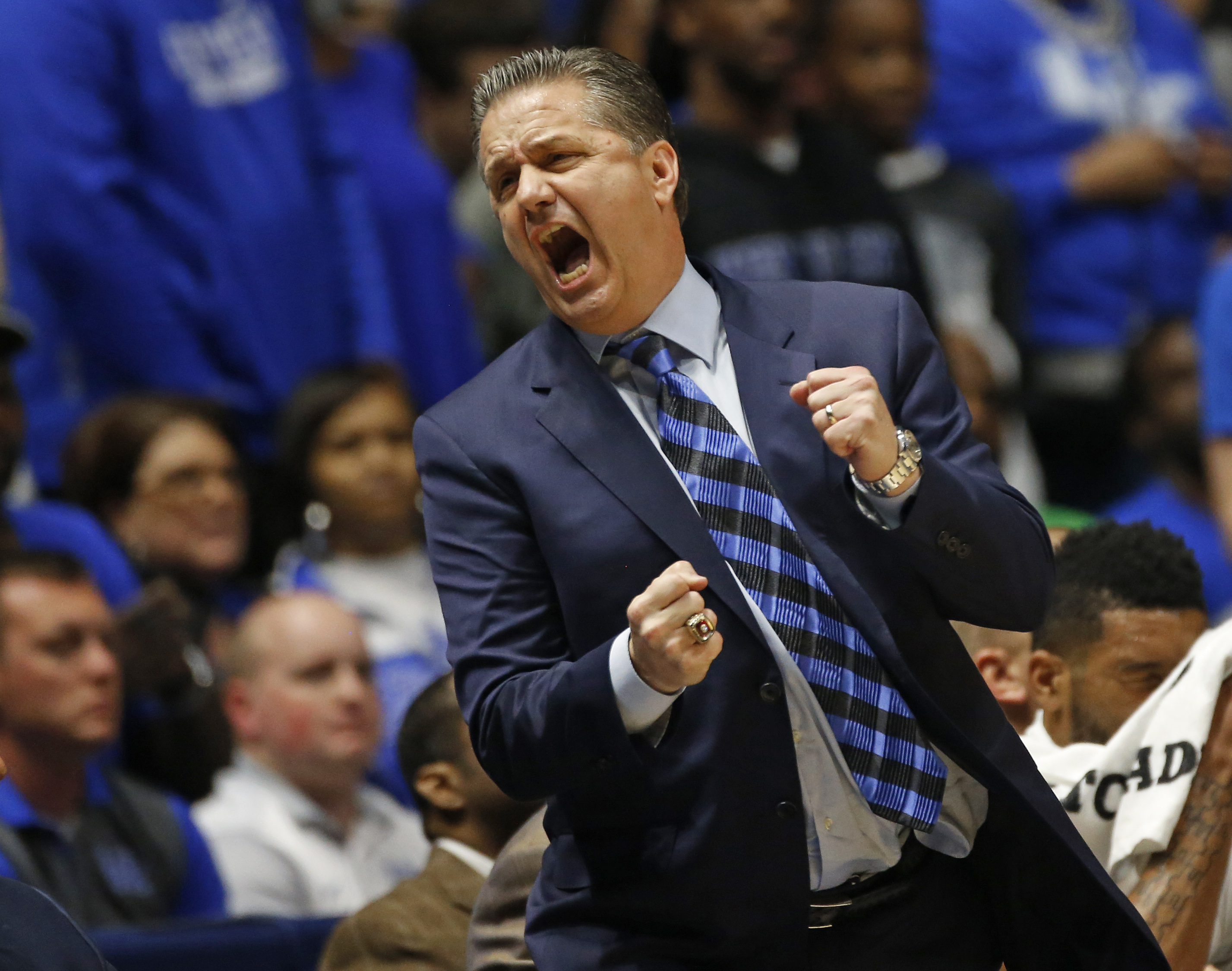 Kentucky head coach John Calipari reacts to a call during the first half of an NCAA college basketball game against Alabama in the Southeastern Conference tournament in Nashville, Tenn., Friday, March 11, 2016. (AP Photo/John Bazemore)