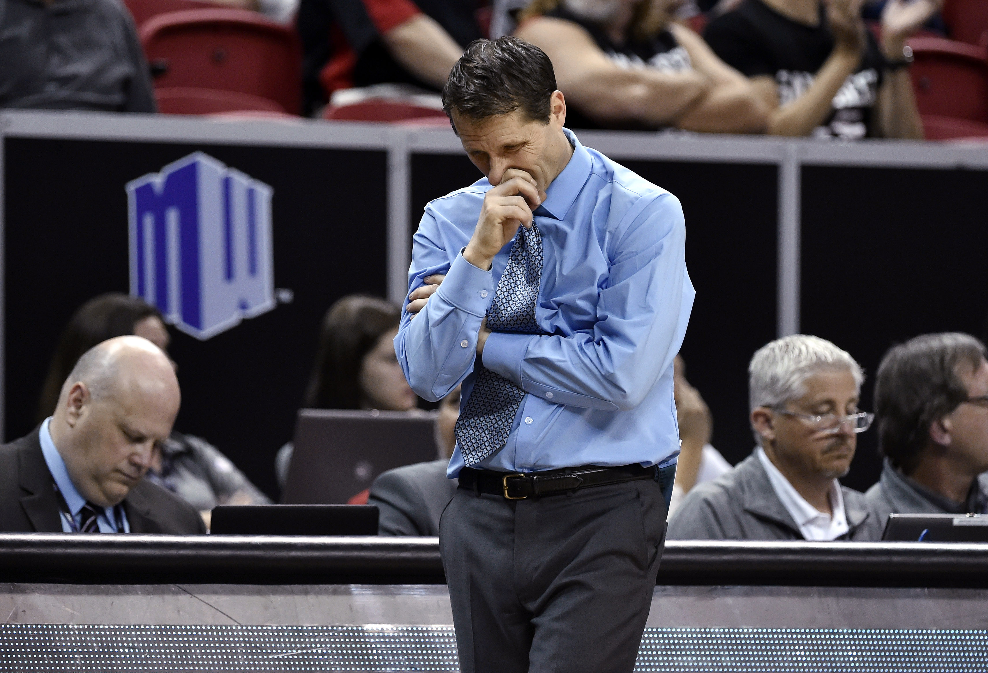 Nevada coach Eric Musselman stands on the sideline as  his team plays San Diego State during the second half of an NCAA college basketball game in the semifinals at the Mountain West Conference men's tournament Friday, March 11, 2016, in Las Vegas. San Di