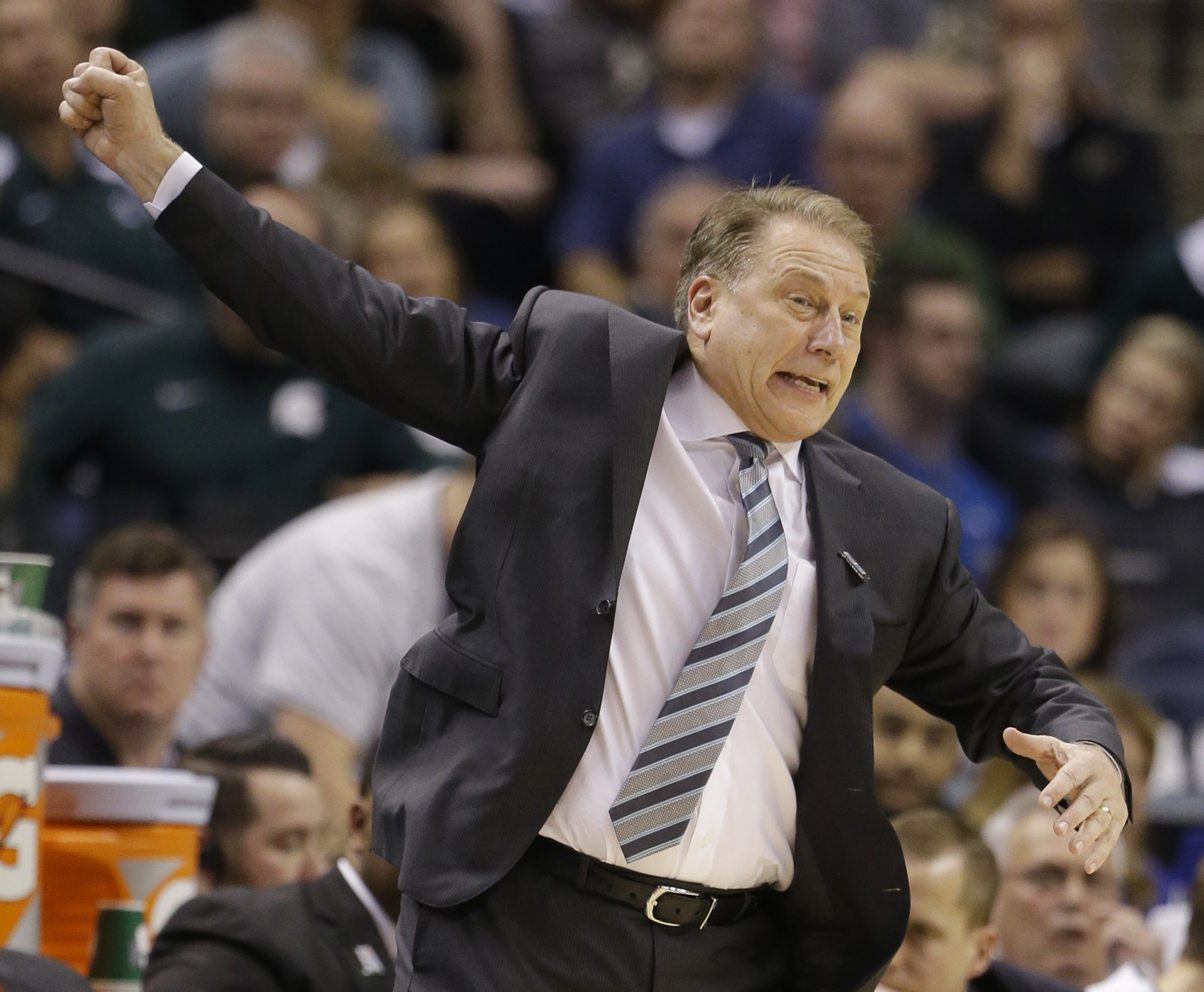 Michigan State's head coach Tom Izzo reacts to a play during the second half of an NCAA college basketball game against Purdue in the finals at the Big Ten Conference tournament, Sunday, March 13, 2016, in Indianapolis. (AP Photo/Michael Conroy)