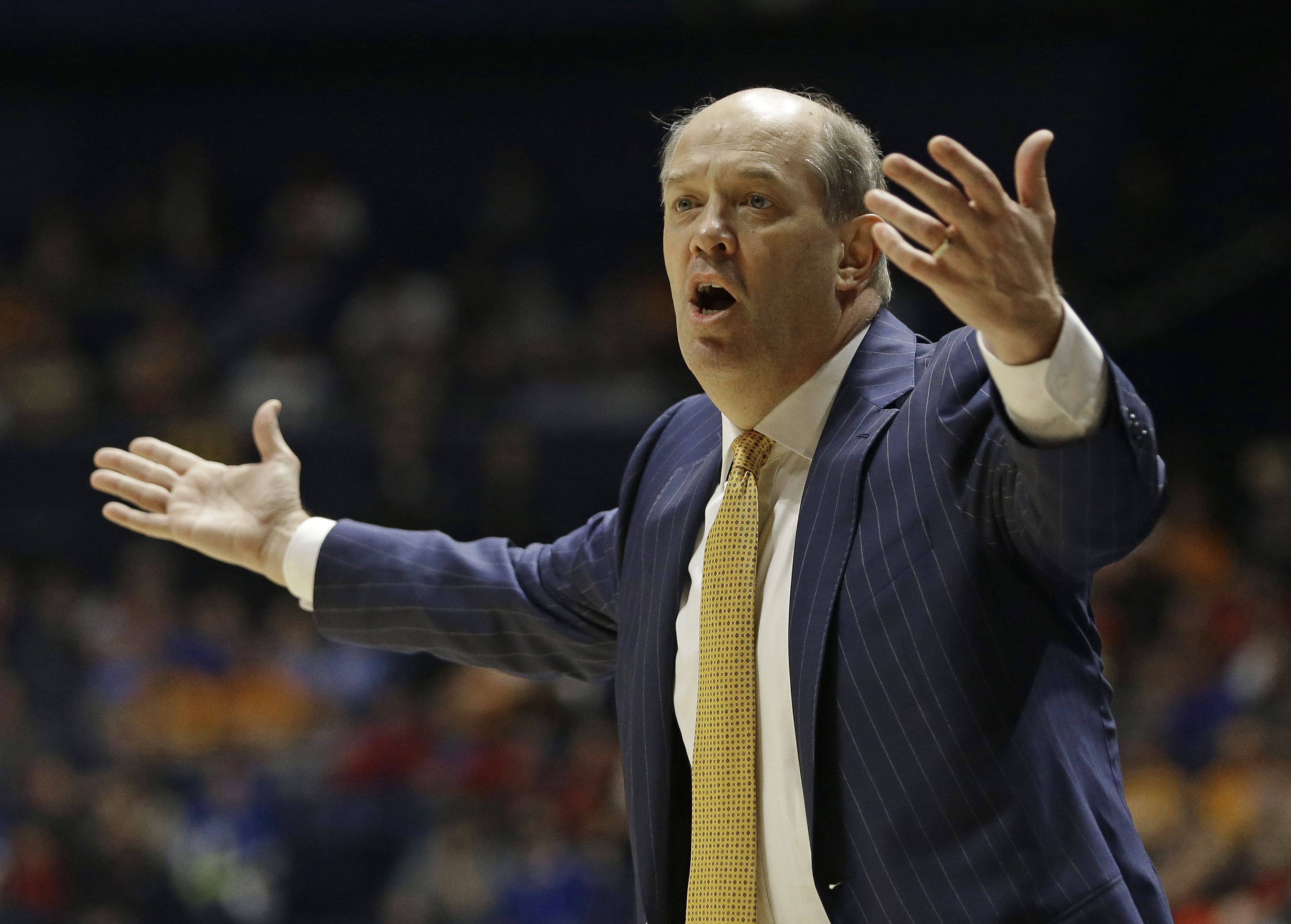 FILE- IN this March 10, 2016, file photo, Vanderbilt head coach Kevin Stallings reacts to a call during the second half of an NCAA college basketball game against Tennessee in the Southeastern Conference tournament in Nashville, Tenn. Vanderbilt is one of