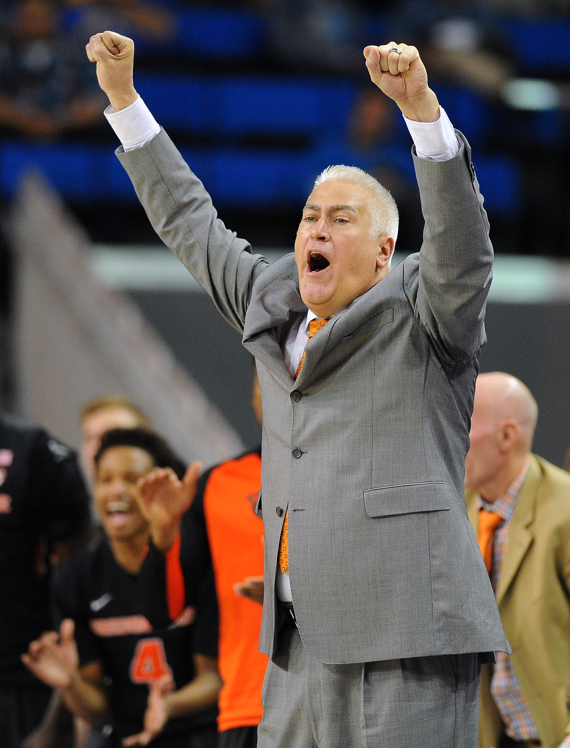 FILE - In this March 5, 2016, file photo, Oregon State head coach Wayne Tinkle reacts after his team builds a lead against UCLA at an NCAA college basketball game in Los Angeles. Just two seasons ago, Oregon State was in such disarray that new head coach