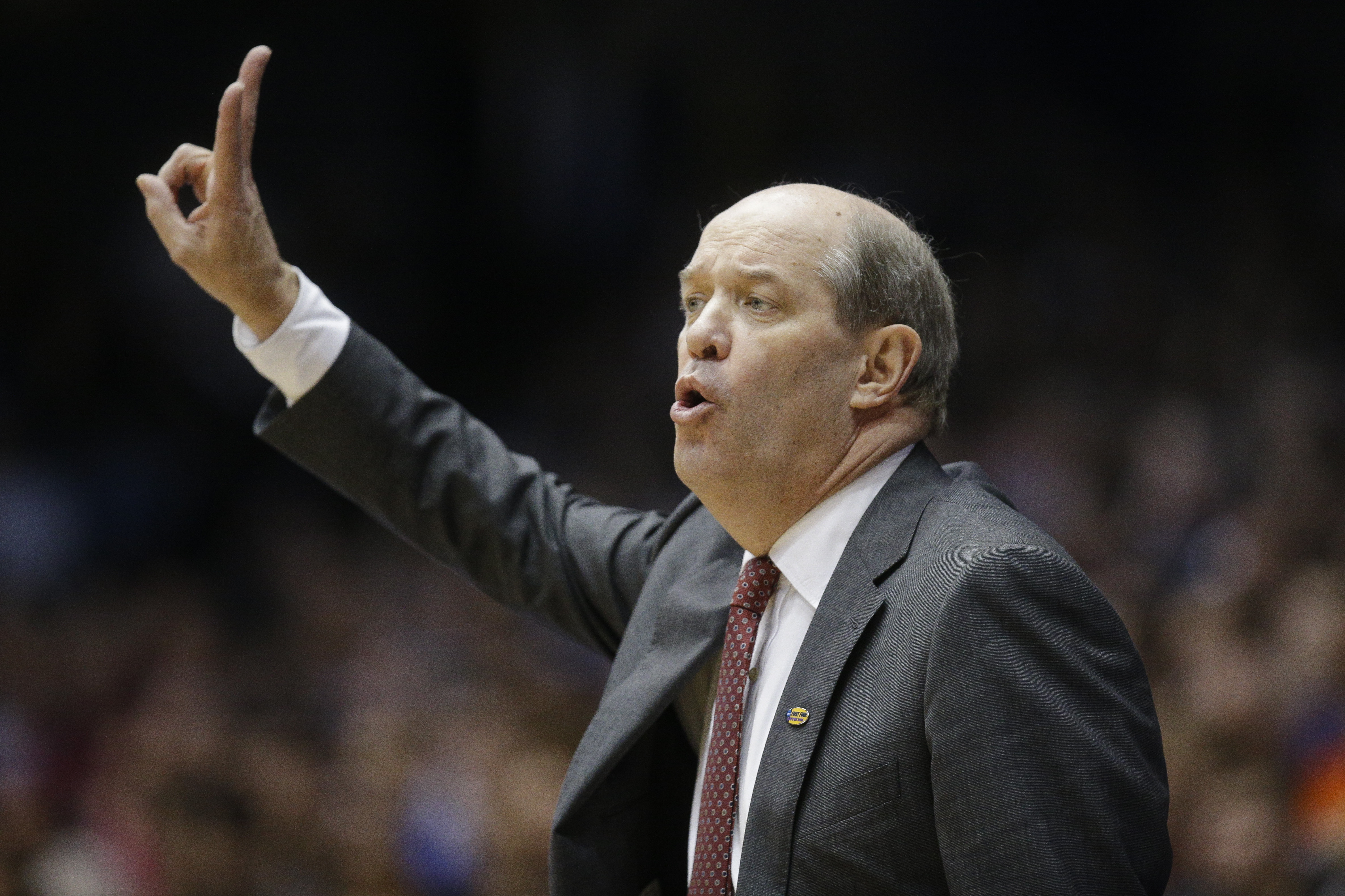Vanderbilt coach Kevin Stallings gestures during the second half of the team's First Four game of the NCAA men's college basketball tournament, against Wichita State on Tuesday, March 15, 2016, in Dayton, Ohio. Wichita State won 70-50. (AP Photo/John Minc