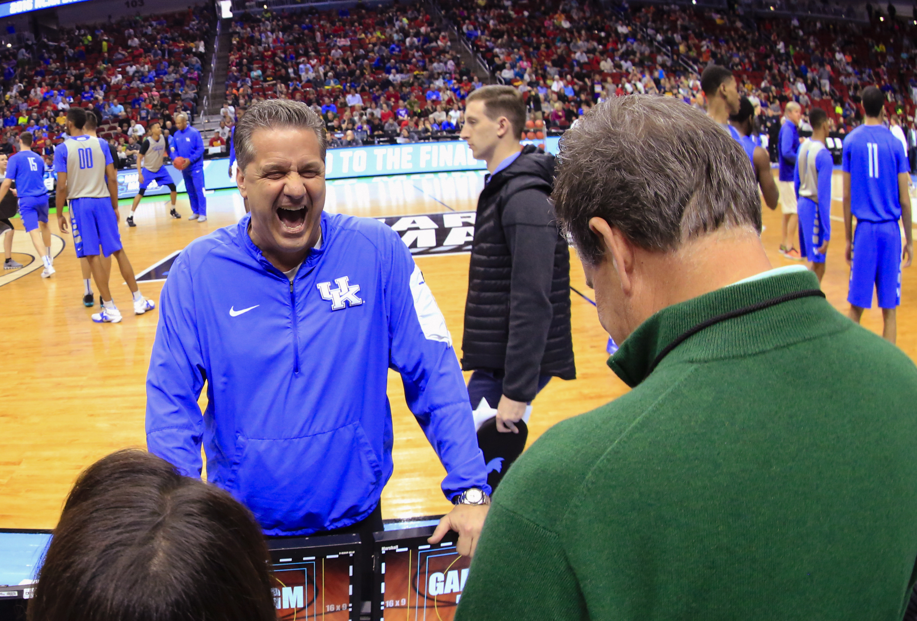 Kentucky coach John Calipari laughs with reporters during practice for a first-round men's college basketball game in the NCAA Tournament in Des Moines, Iowa, Wednesday, March 16, 2016. Kentucky will play Stony Brook on Thursday. (AP Photo/Nati Harnik)