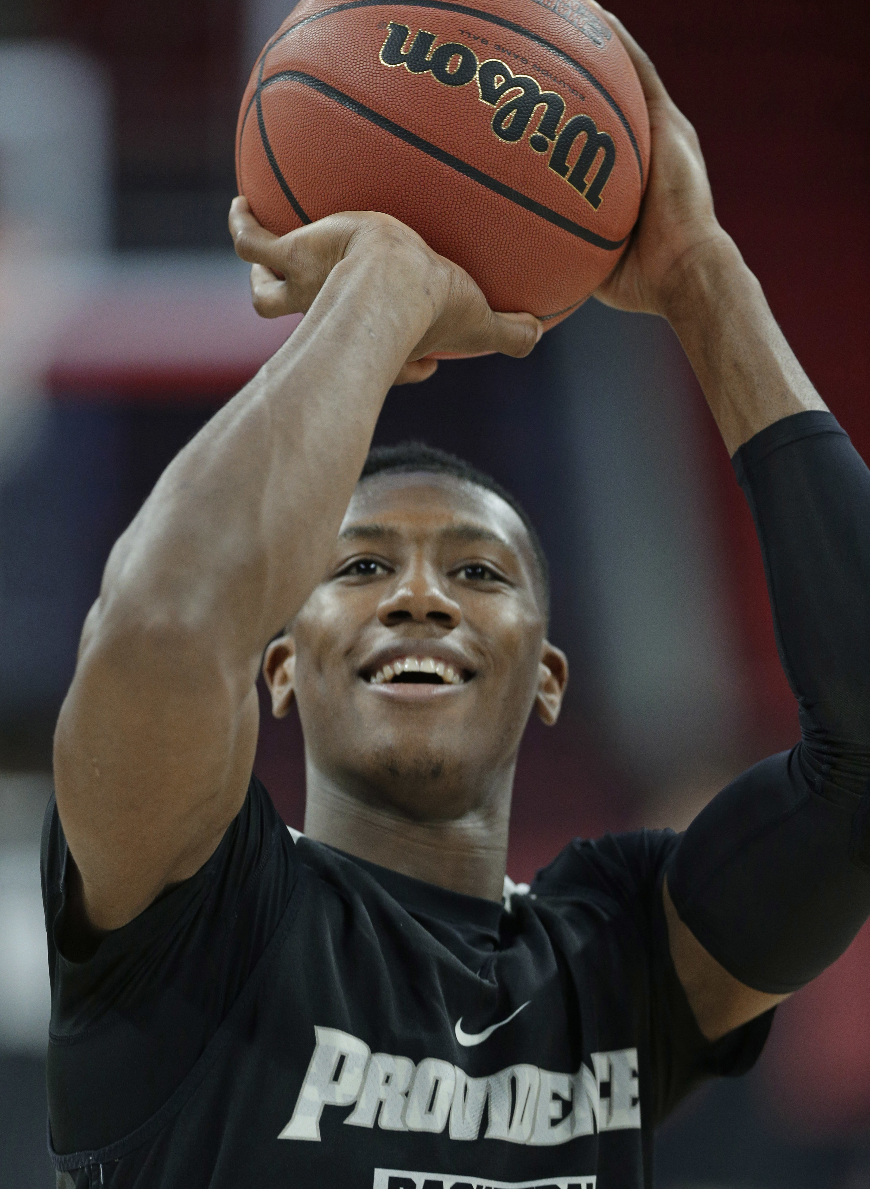 Providence's Kris Dunn shoots during practice for a first-round men's college basketball game in the NCAA Tournament in Raleigh, N.C., Wednesday, March 16, 2016. Providence plays Southern California on Thursday. (AP Photo/Chuck Burton)