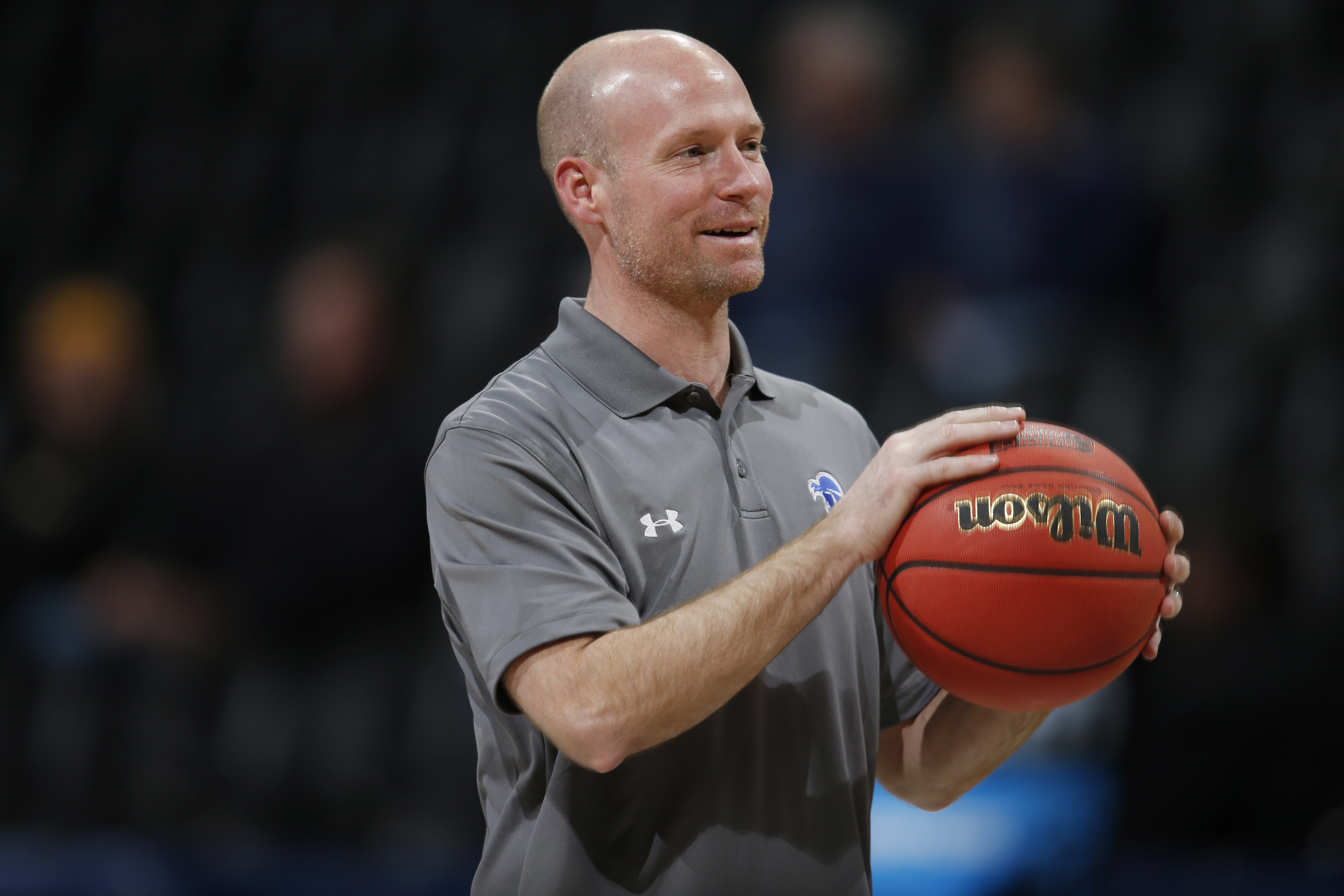 Seton Hall coach Kevin Willard directs a drill during practice for a first-round men's college basketball game Wednesday, March 16, 2016, in the NCAA Tournament in Denver. Seton Hall faces Gonzaga on Thursday. (AP Photo/David Zalubowski)