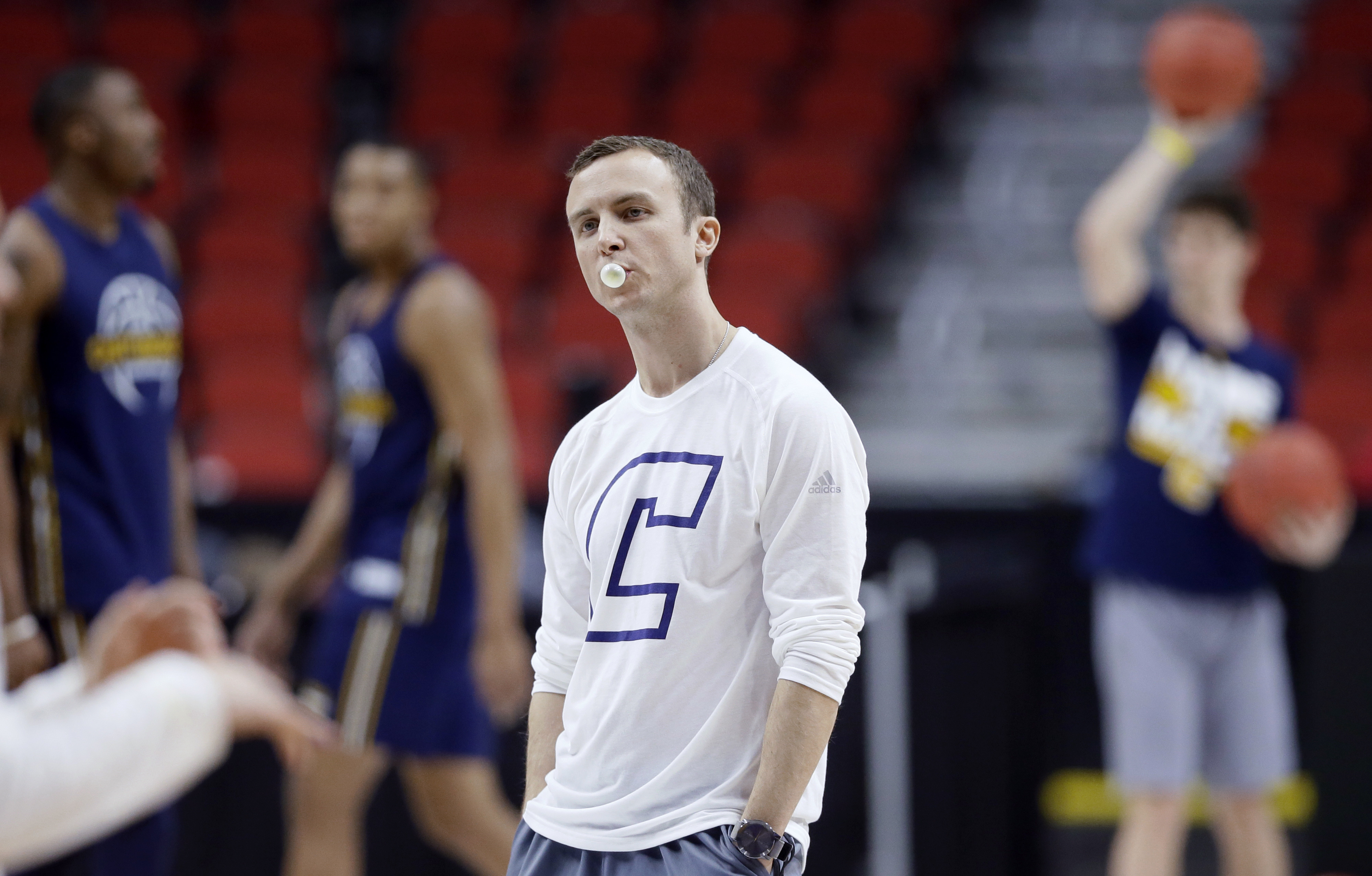 Chattanooga coach Matt McCall watches his team during practice for a first-round men's college basketball game in the NCAA Tournament, Wednesday, March 16, 2016, in Des Moines, Iowa. Chattanooga plays Indiana on Thursday. (AP Photo/Charlie Neibergall)