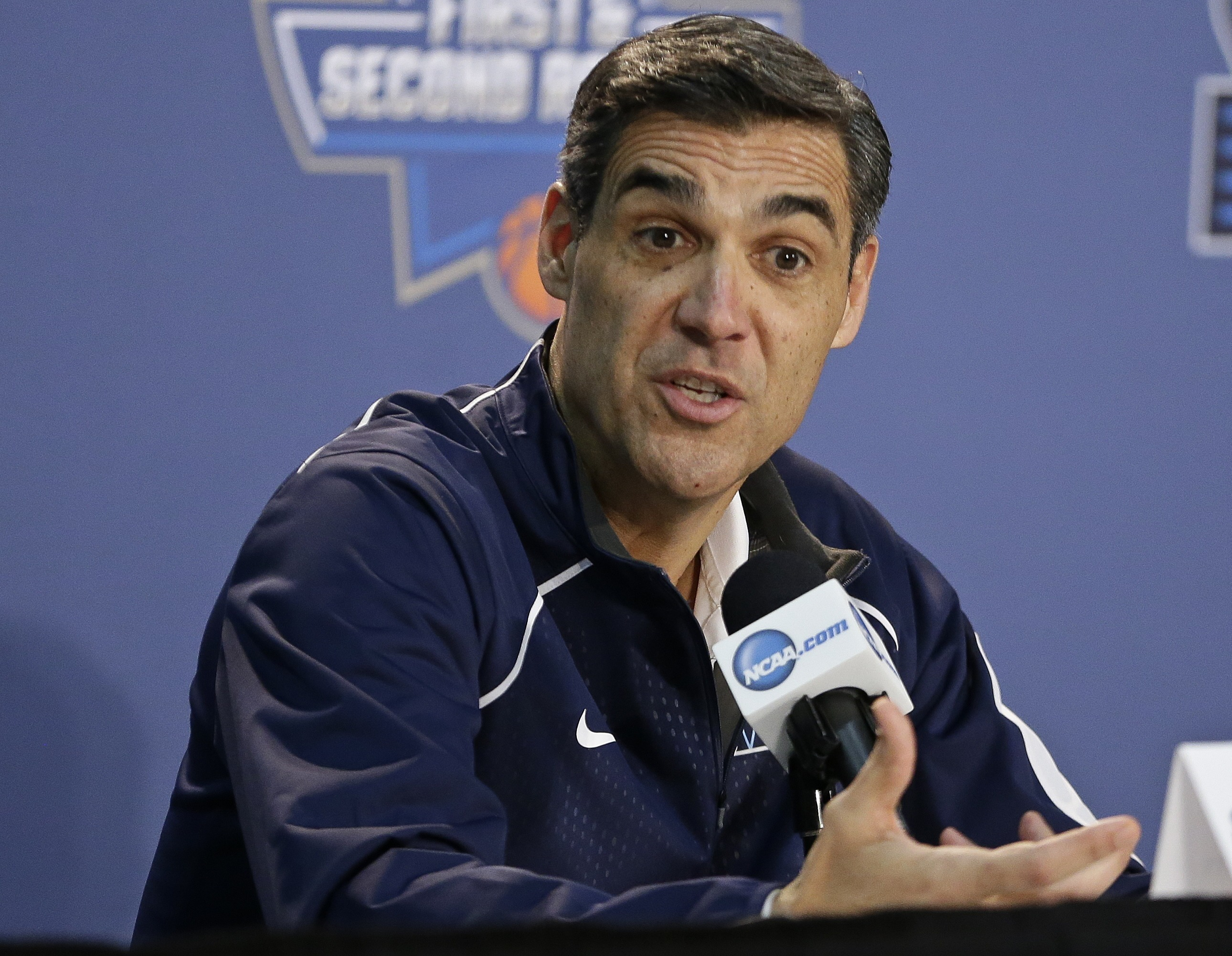 Villanova head coach Jay Wright responds to questions during a news conference before Friday's first-round men's college basketball game against North Carolina-Asheville in the NCAA Tournament Thursday, March 17, 2016, in New York. (AP Photo/Frank Frankli
