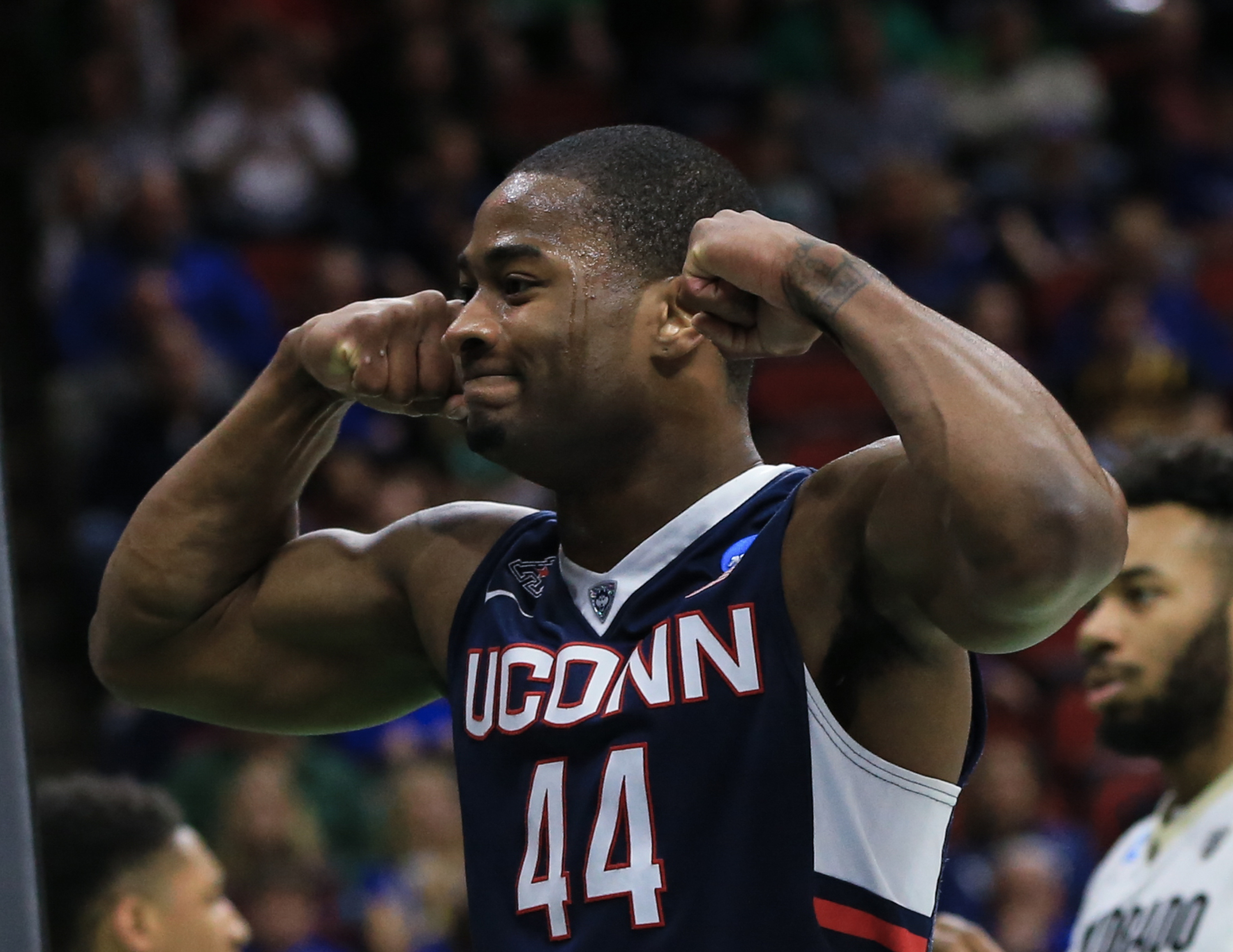 Connecticut's Rodney Purvis  celebrates after a Colorado foul against him, during a first-round men's college basketball game in the NCAA Tournament in Des Moines, Iowa, Thursday, March 17, 2016. Connecticut won 74-67. (AP Photo/Nati Harnik)