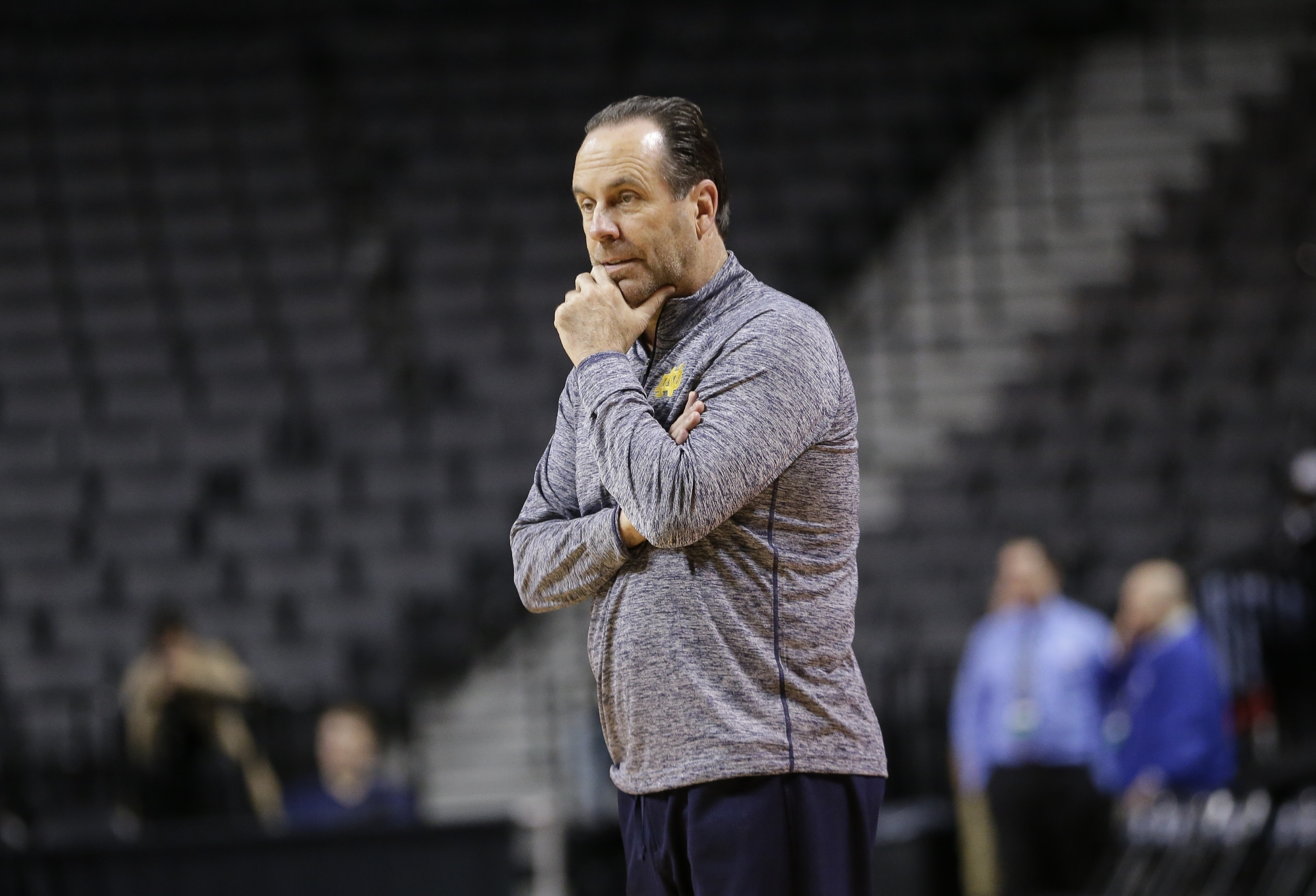 Notre Dame Fighting head coach Mike Brey watches his team during practice for a first-round men's college basketball game against Stephen F. Austin in the NCAA Tournament on Thursday, March 17, 2016, in New York. (AP Photo/Frank Franklin II)