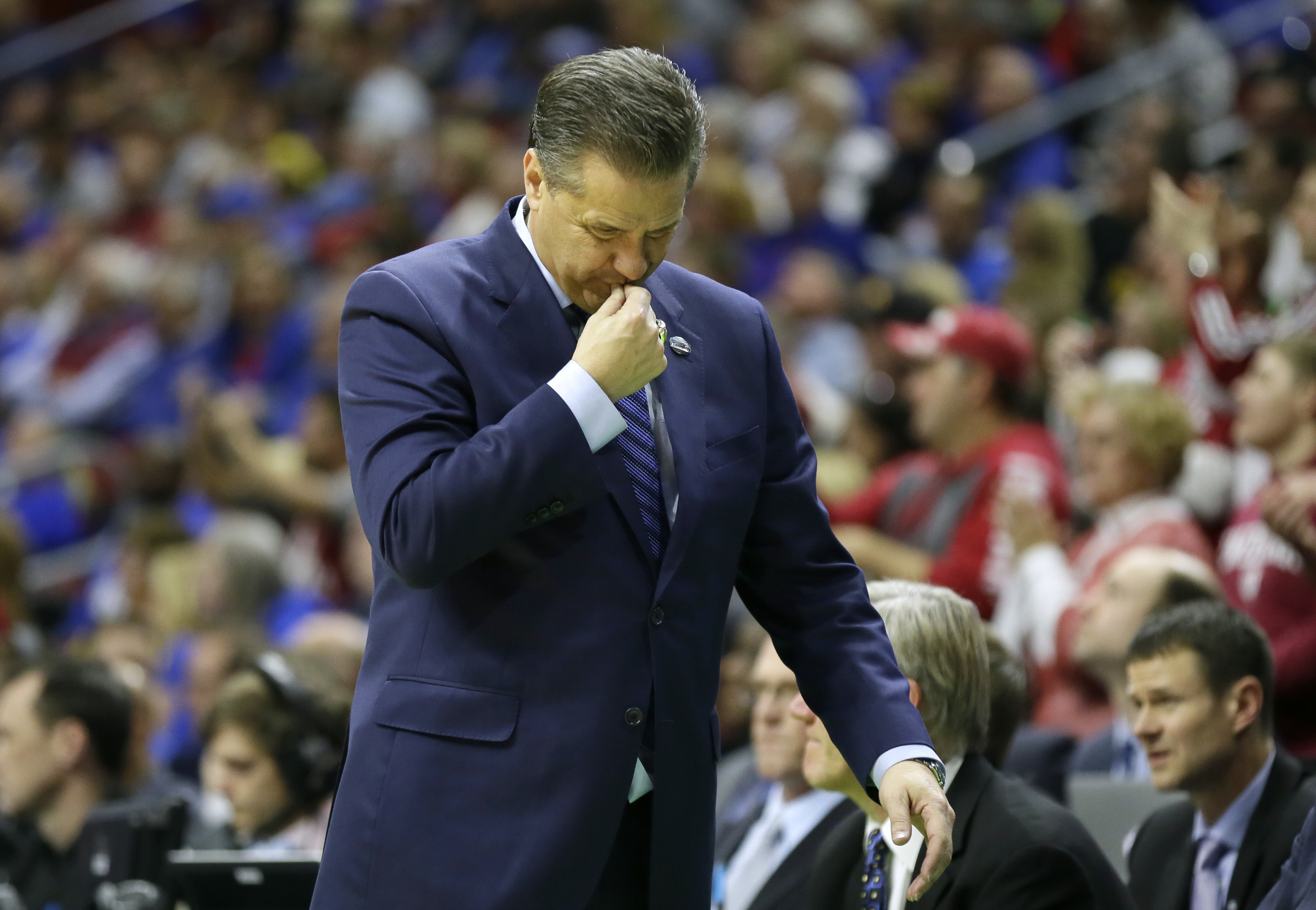 Kentucky head coach John Calipari reacts on the sideline during the second half of a second-round men's college basketball game against Indiana in the NCAA Tournament, Saturday, March 19, 2016, in Des Moines, Iowa. (AP Photo/Charlie Neibergall)