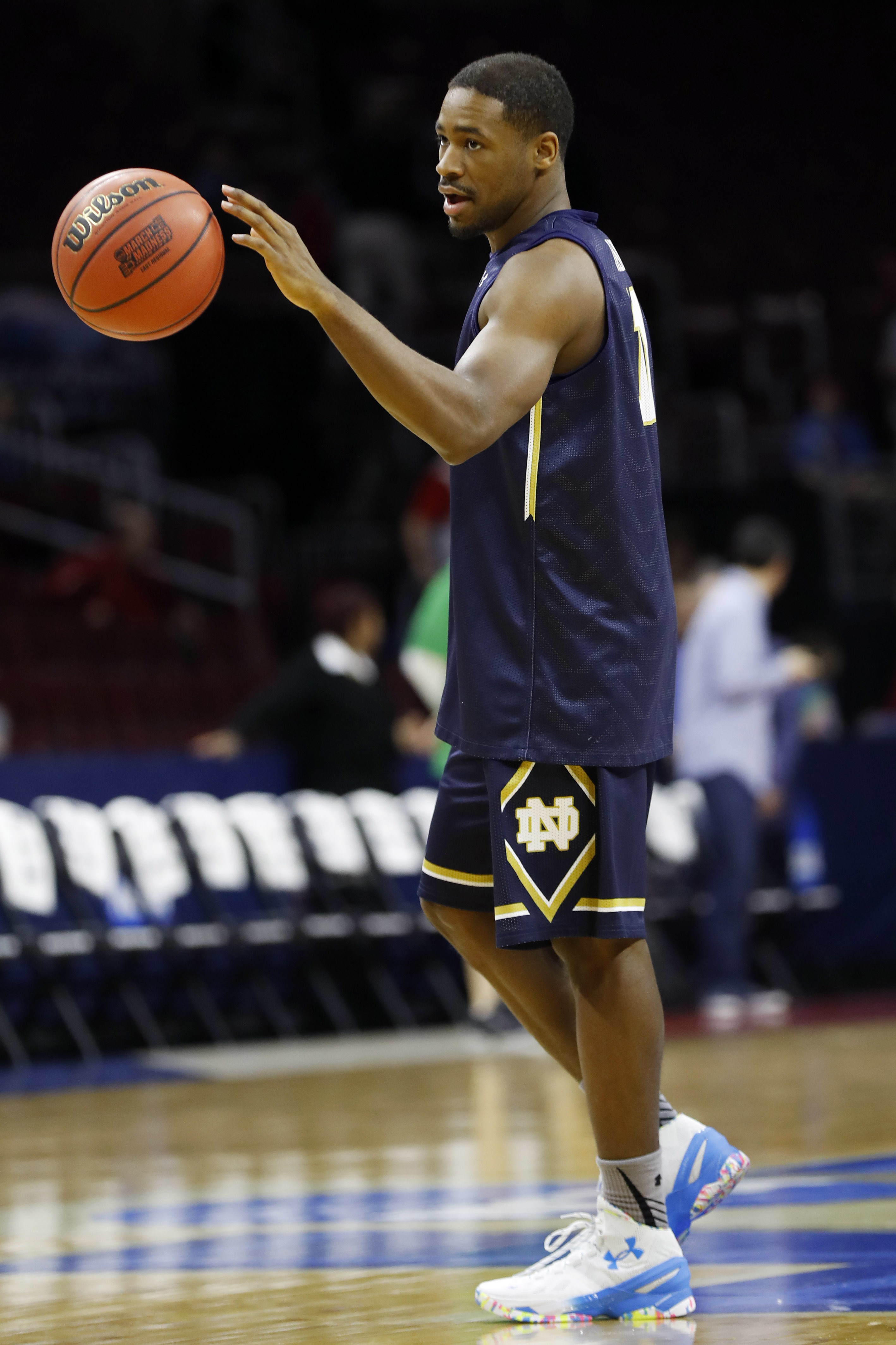 Notre Dame's Demetrius Jackson warms up during college basketball practice, Thursday, March 24, 2016, in Philadelphia. Notre Dame plays against Wisconsin in a regional semifinal game in the NCAA Tournament on Friday. (AP Photo/Chris Szagola)
