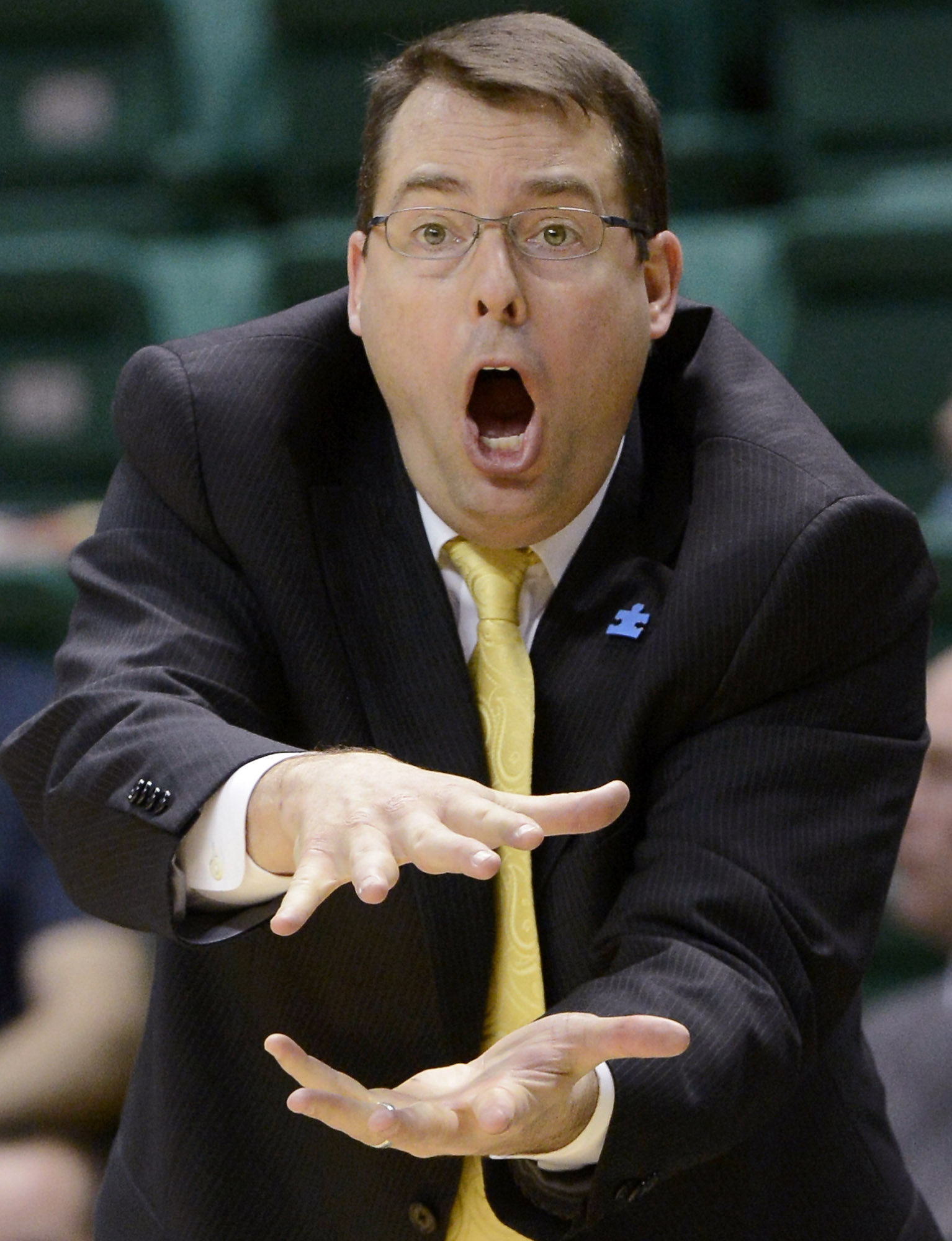 FILE - In this Feb. 1, 2014, file photo, UAB coach Jerod Haase reacts to play during the second half of an NCAA college basketball game against East Carolina in Birmingham, Ala. Stanford hired Haase as its new basketball coach on Friday, March 25, 2016, a