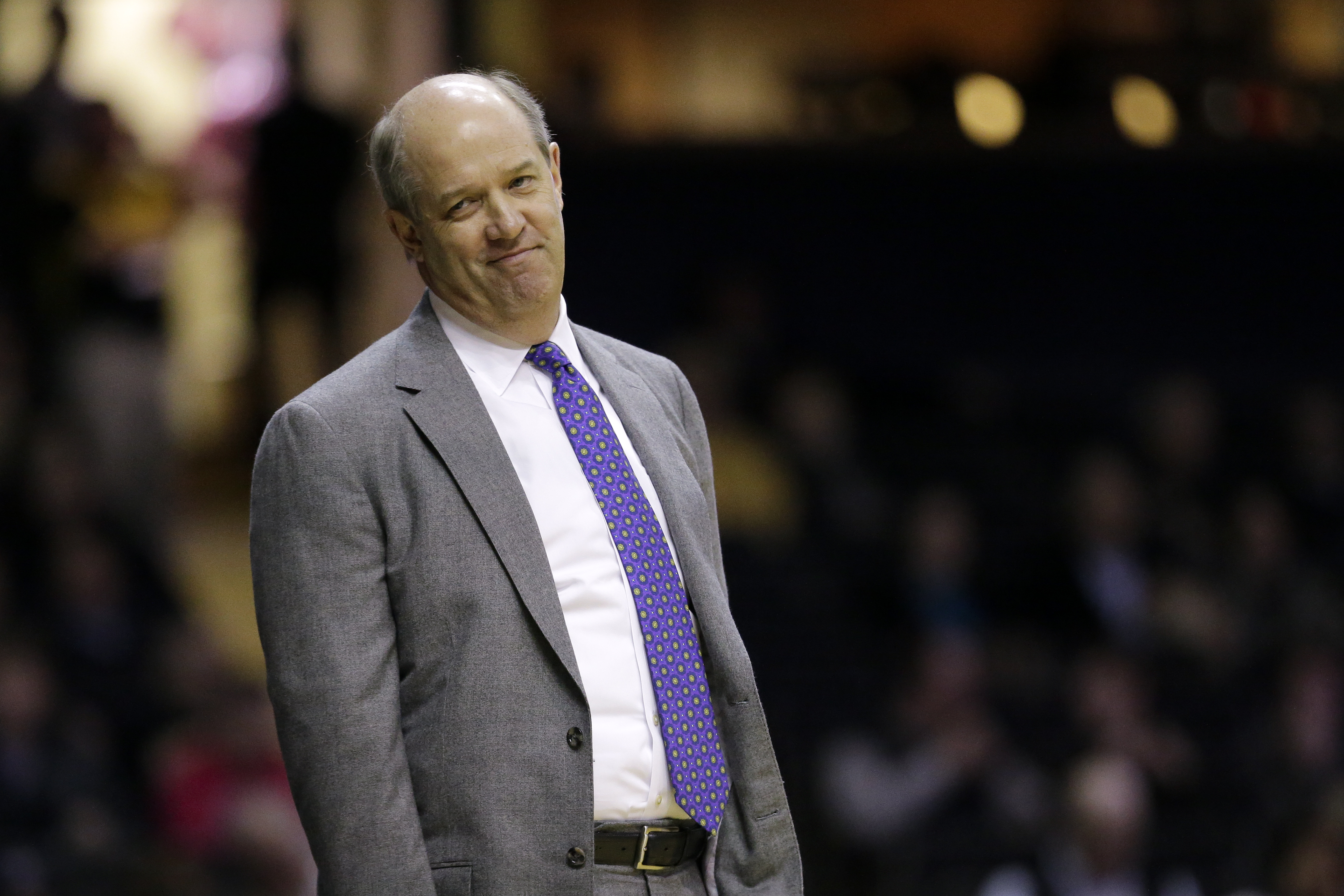 FILE - In this Jan. 26, 2016, file photo, Vanderbilt head coach Kevin Stallings watches from the sideline in the first half of an NCAA college basketball game against Florida in Nashville, Tenn. Pittsburgh hired Stallings away from Vanderbilt on Sunday, M