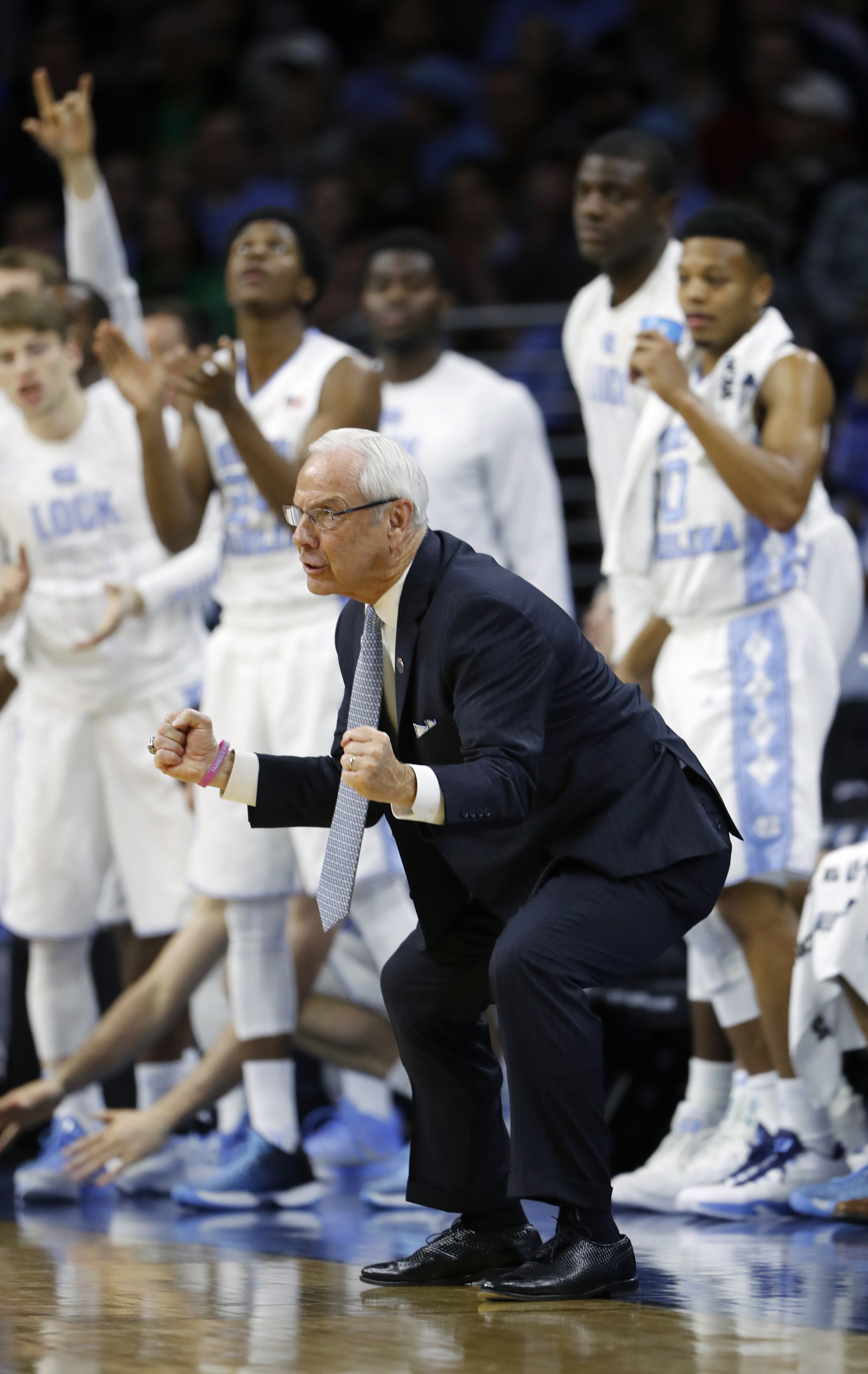 North Carolina head coach Roy Williams reacts during the second half of a regional final men's college basketball game against Notre Dame in the NCAA Tournament, Sunday, March 27, 2016, in Philadelphia. (AP Photo/Matt Rourke)