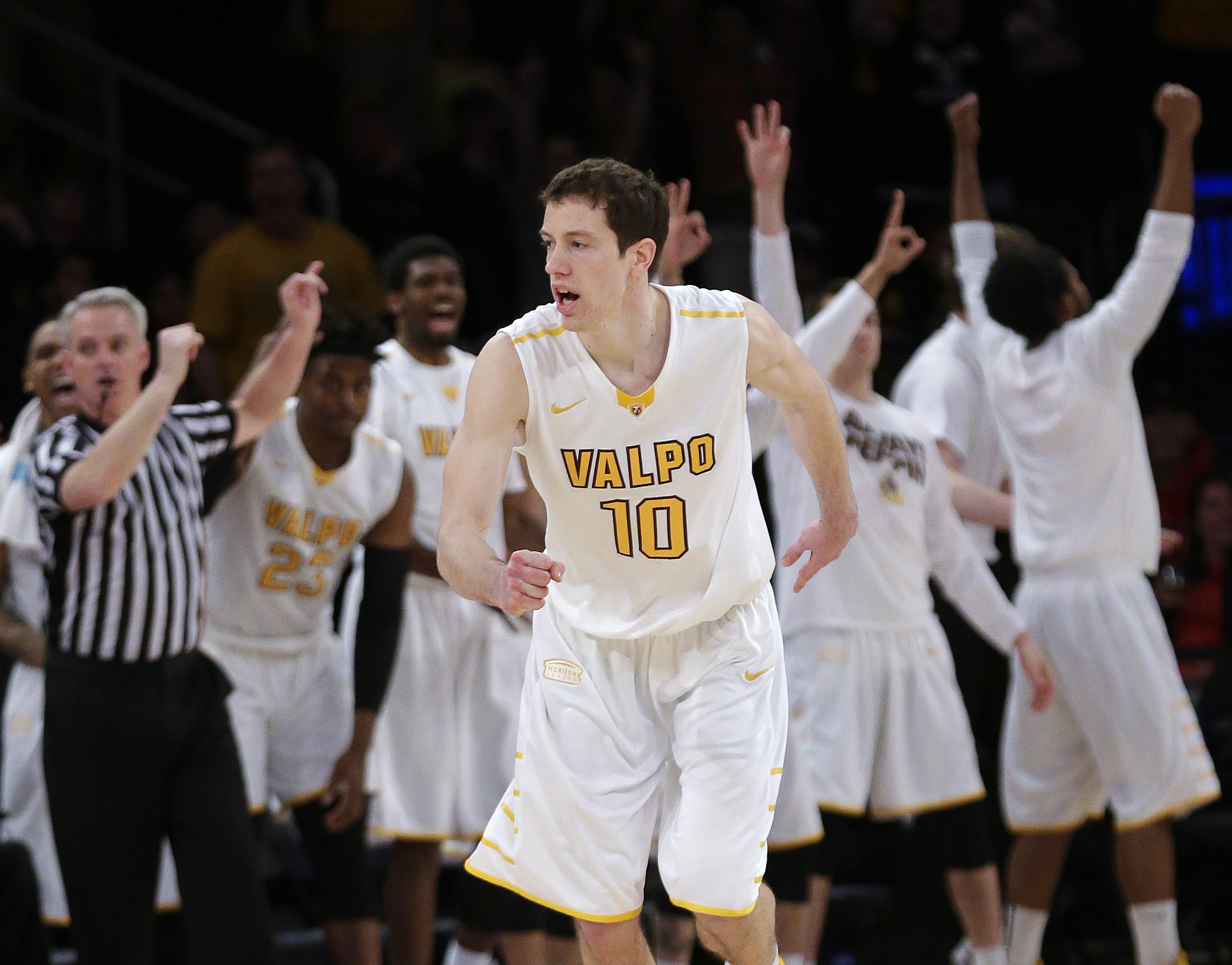 Valparaiso's David Skara (10) reacts after making a three point basket during the second half of an NCAA basketball game against BYU in the semifinals of the NIT on Tuesday, March 29, 2016, in New York. Valparaiso won 72-70. (AP Photo/Frank Franklin II)