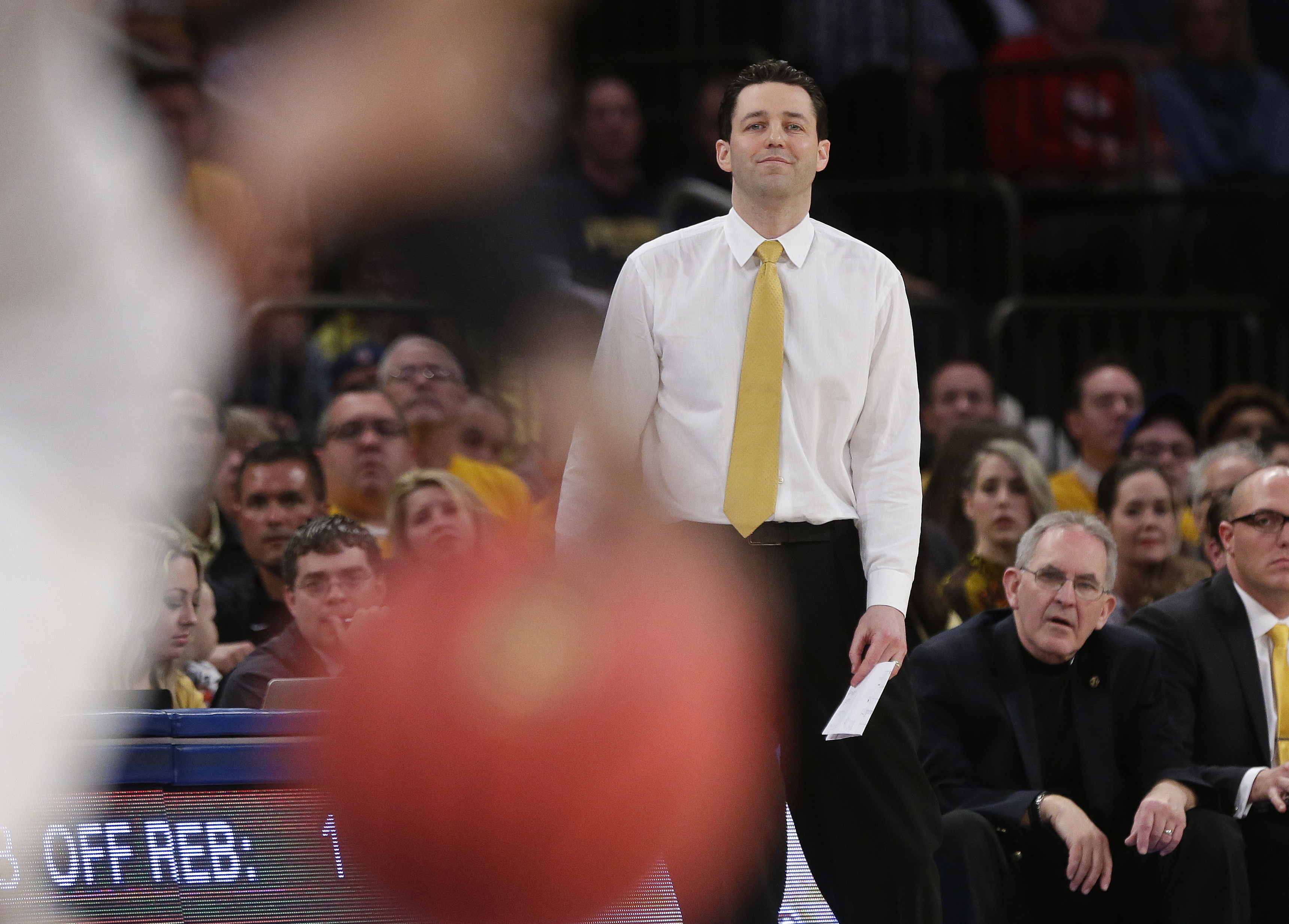 Valparaiso coach Bryce Drew watches his team play during the first half of an NCAA college basketball game against George Washington in the final of the NIT, Thursday, March 31, 2016, in New York. (AP Photo/Frank Franklin II)
