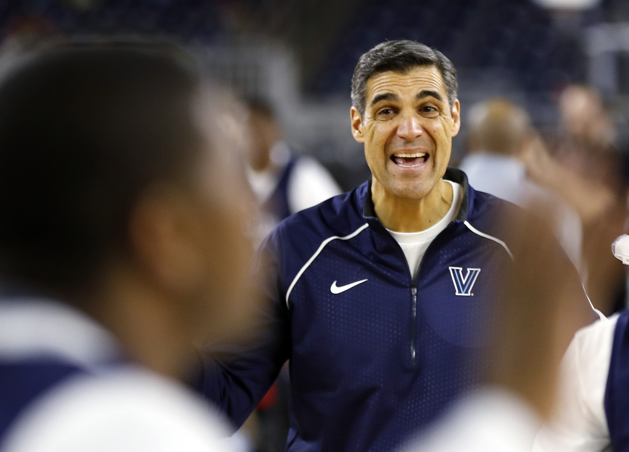Villanova head coach Jay Wright watches a drill during a practice session for the NCAA Final Four college basketball tournament Friday, April 1, 2016, in Houston. (AP Photo/David J. Phillip)