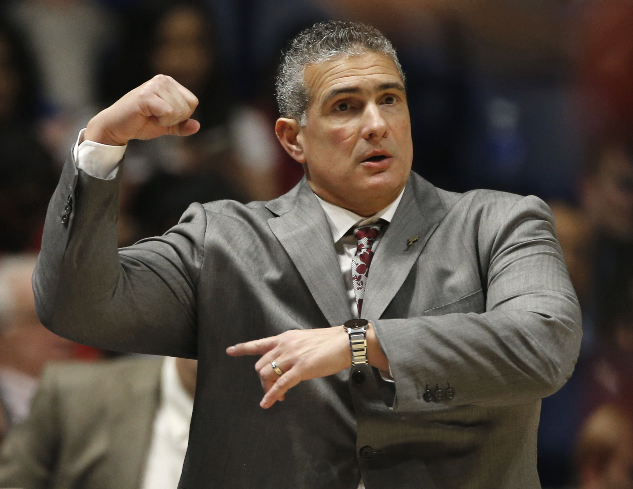 South Carolina head coach Frank Martin directs his team against Georgia during the first half of an NCAA college basketball game in the Southeastern Conference tournament in Nashville, Tenn., Friday, March 11, 2016. (AP Photo/John Bazemore)