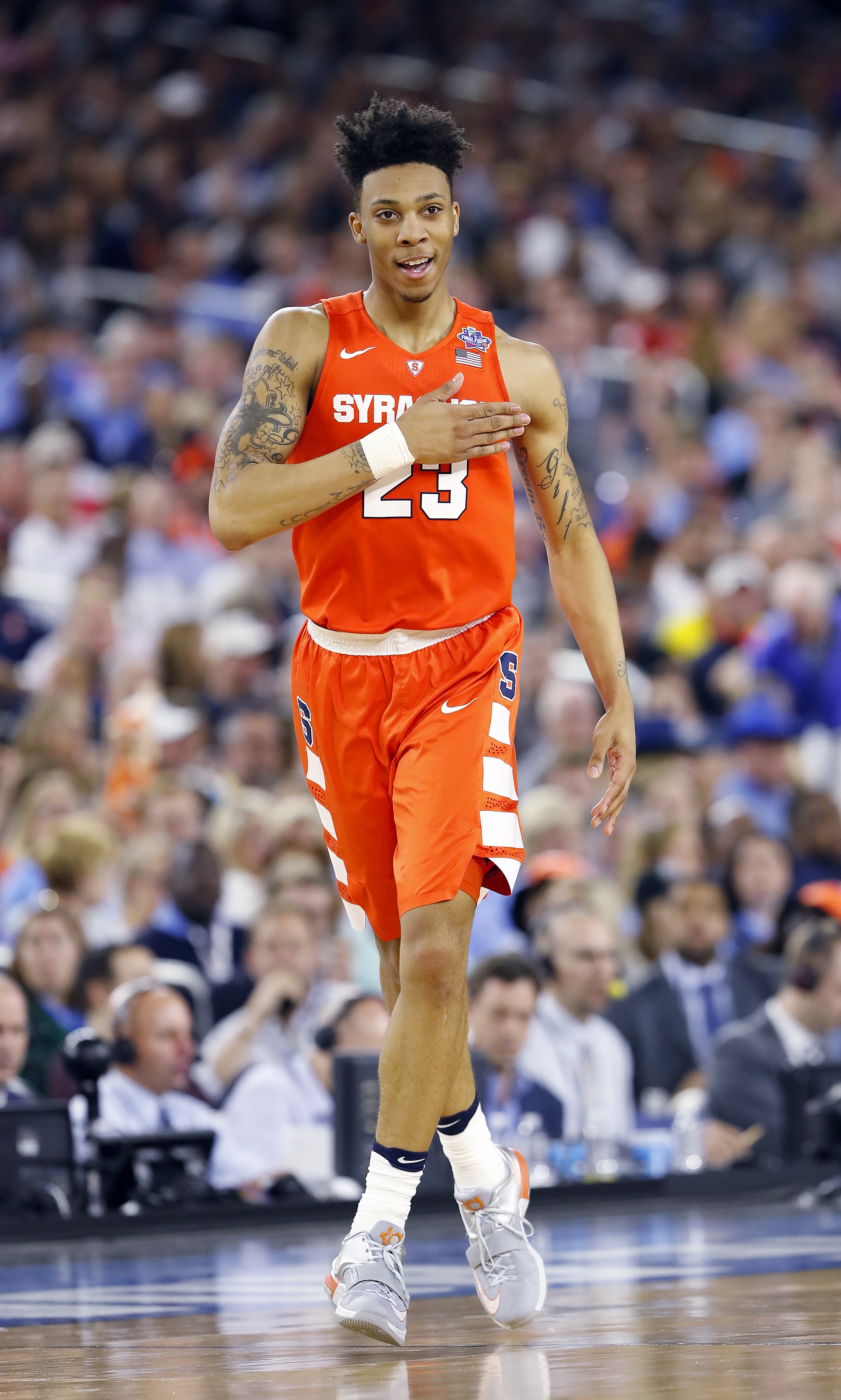 Syracuse guard Malachi Richardson (23) moves up court against North Carolina during the first half of the NCAA Final Four tournament college basketball semifinal game Saturday, April 2, 2016, in Houston. (AP Photo/Eric Gay)