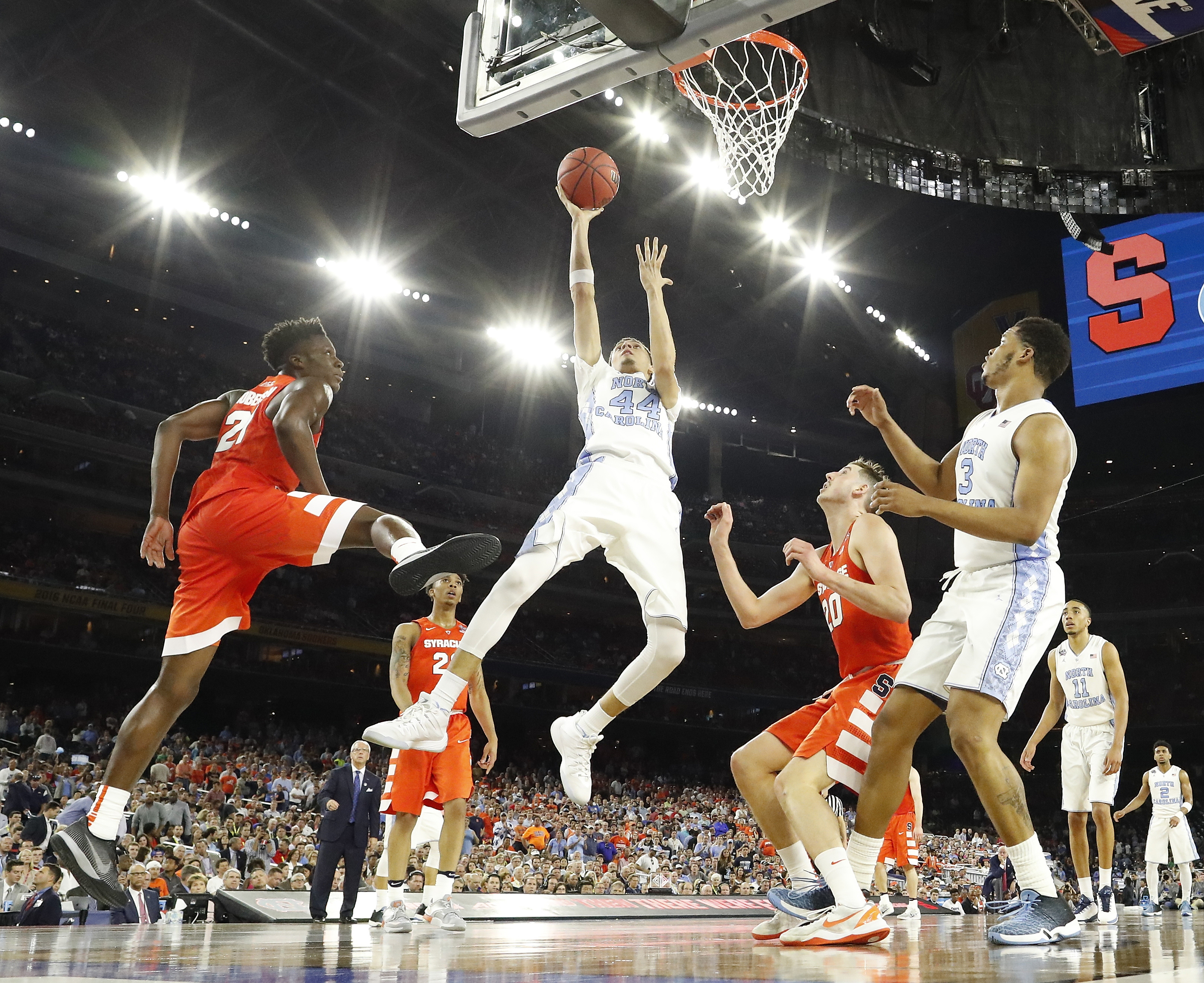 North Carolina forward Justin Jackson (44) shoots against Syracuses during the second half of the NCAA Final Four tournament college basketball semifinal game Saturday, April 2, 2016, in Houston. (AP Photo/David J. Phillip)