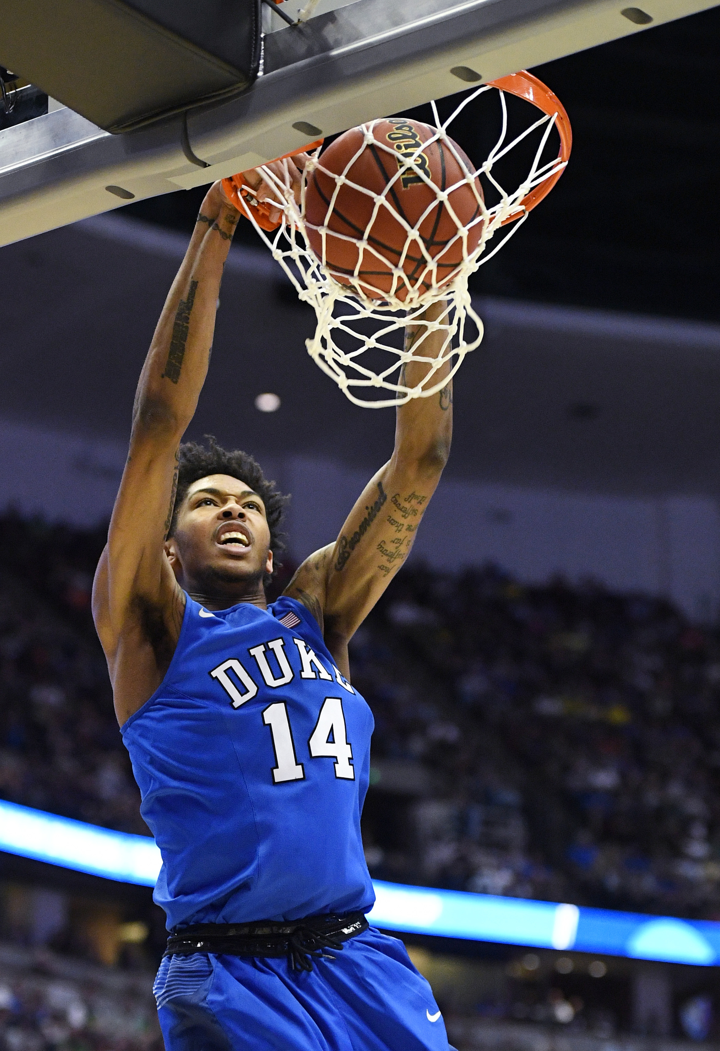 FILE - In this Thursday, March 24, 2016 file photo, Duke guard Brandon Ingram dunks against Oregon during the second half of an NCAA college basketball game in the regional semifinals of the NCAA Tournament in Anaheim, Calif. (AP Photo/Mark J. Terrill, Fi