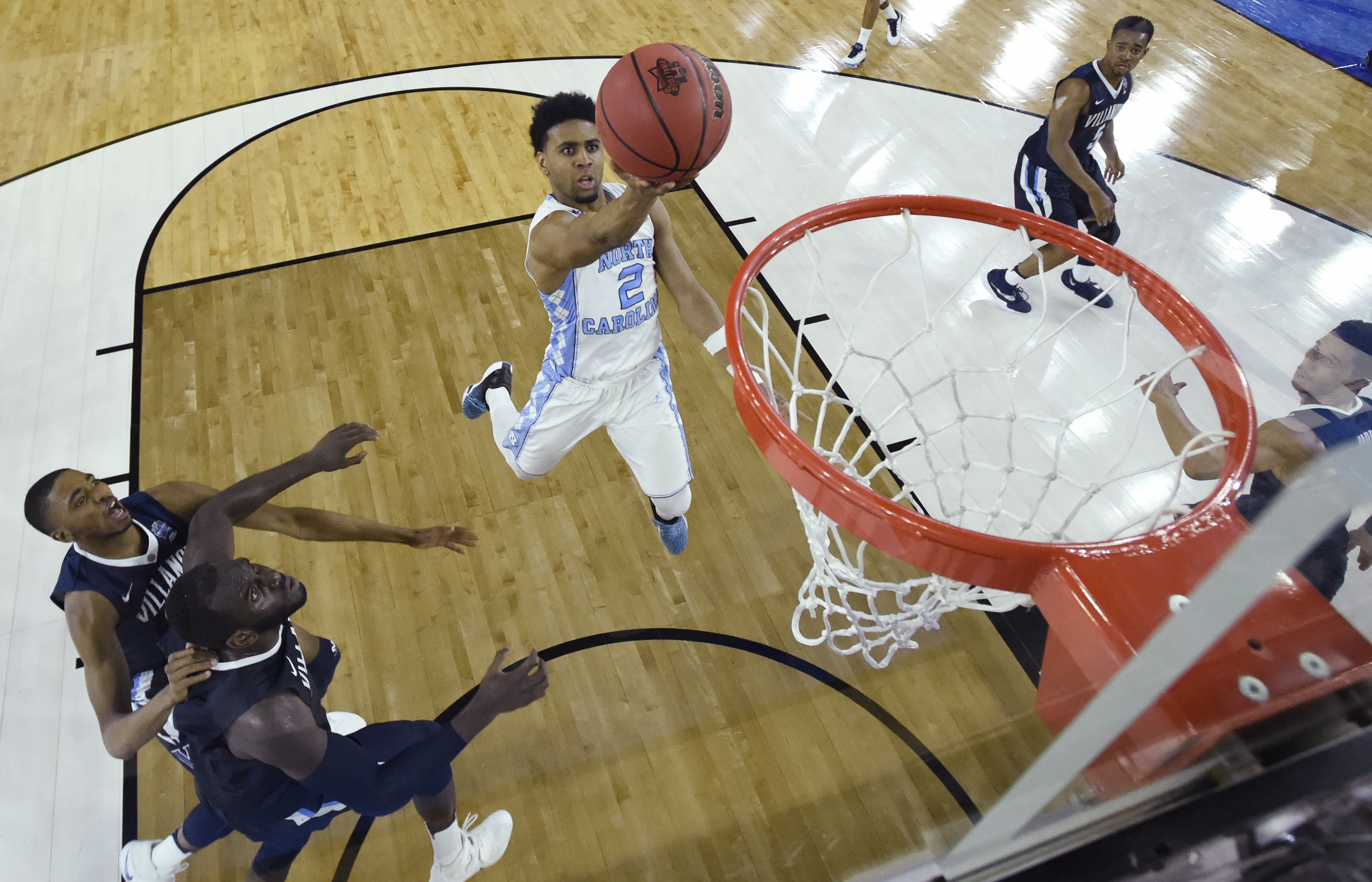 North Carolina guard Joel Berry II (2) heads to the hoop against Villanova during the first half of the NCAA Final Four tournament college basketball championship game Monday, April 4, 2016, in Houston. (Chris Steppig/NCAA Photos Pool)