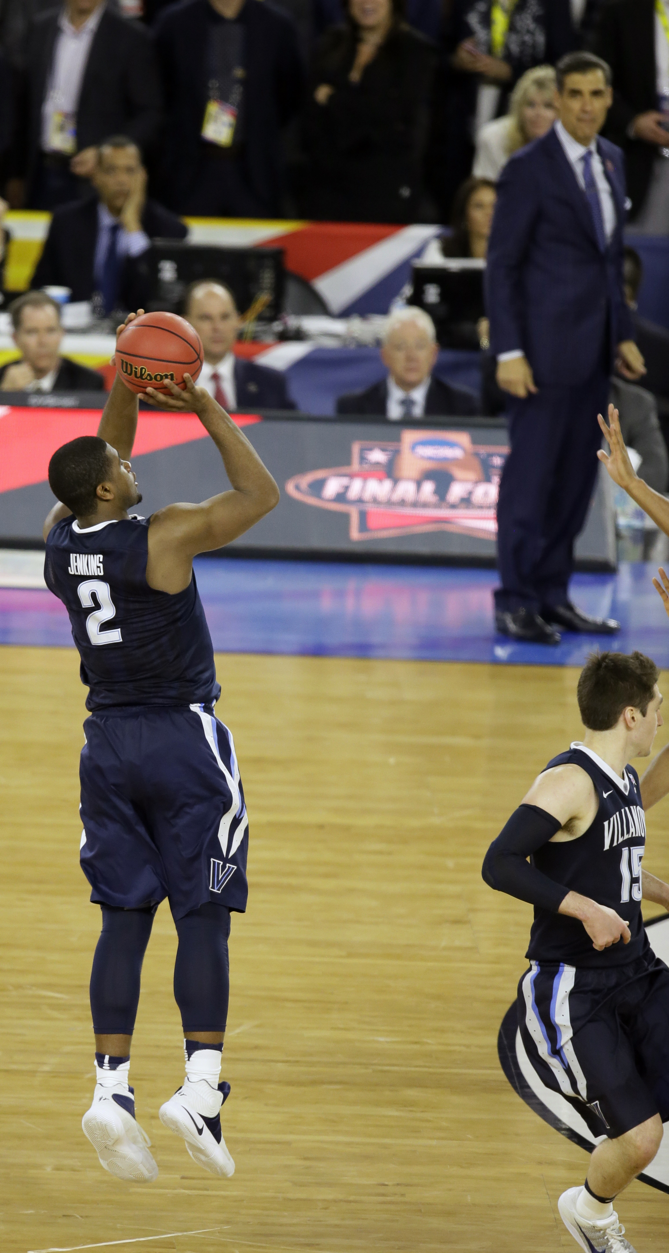 FILE - In this April 4, 2016, file photo, Villanova's Kris Jenkins (2) shoots a game-winning three-point basket in the closing seconds of the NCAA Final Four tournament college basketball championship game against North Carolina, in Houston. Villanova won