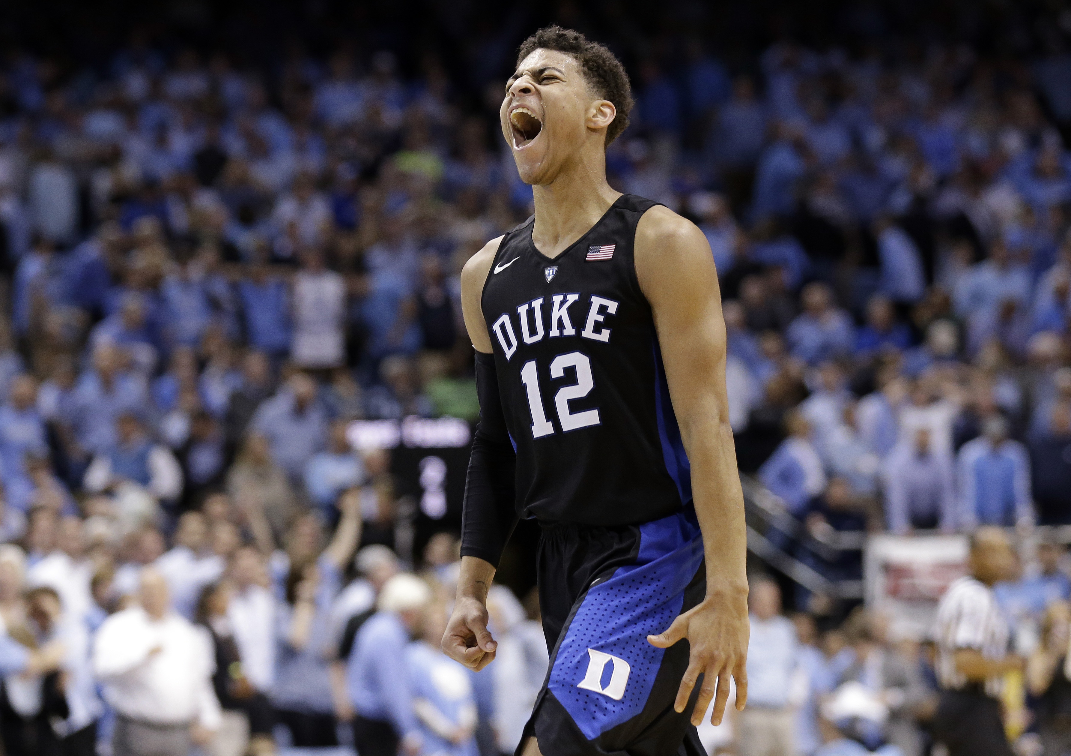 Duke's Derryck Thornton reacts following Duke's 74-73 win over North Carolina in an NCAA college basketball game in Chapel Hill, N.C., Wednesday, Feb. 17, 2016. (AP Photo/Gerry Broome)