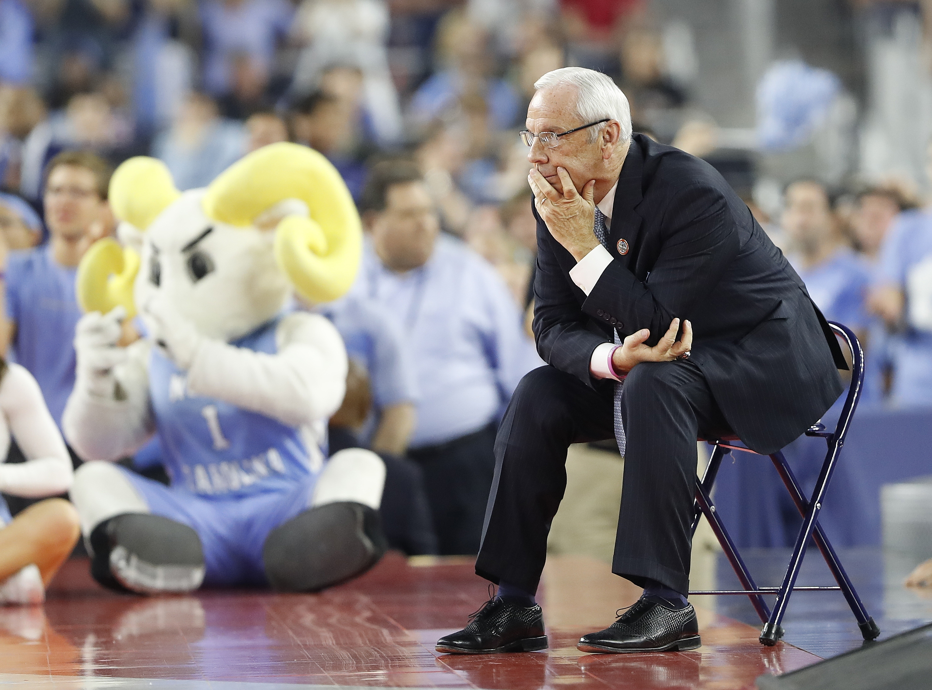 FILE - In this April 4, 2016, file photo, North Carolina head coach Roy Williams watches during the first half against Villanova in the championship game of the Final Four in the NCAA college men's basketball tournament in Houston. Williams said Tuesday,