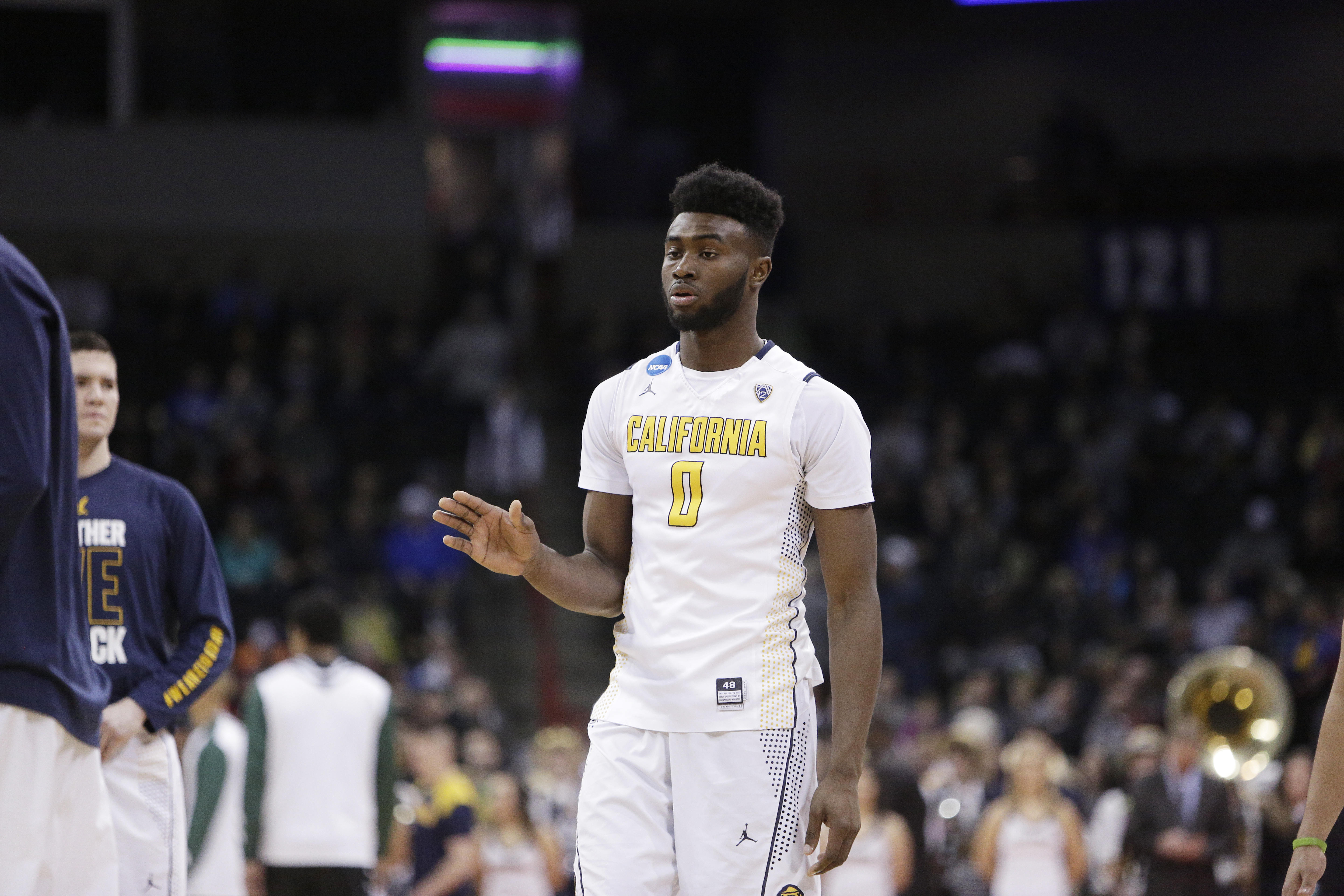 California forward Jaylen Brown (0) walks on the court before a first-round men's college basketball game against Hawaii in the NCAA Tournament in Spokane, Wash., Friday, March 18, 2016. (AP Photo/Young Kwak)