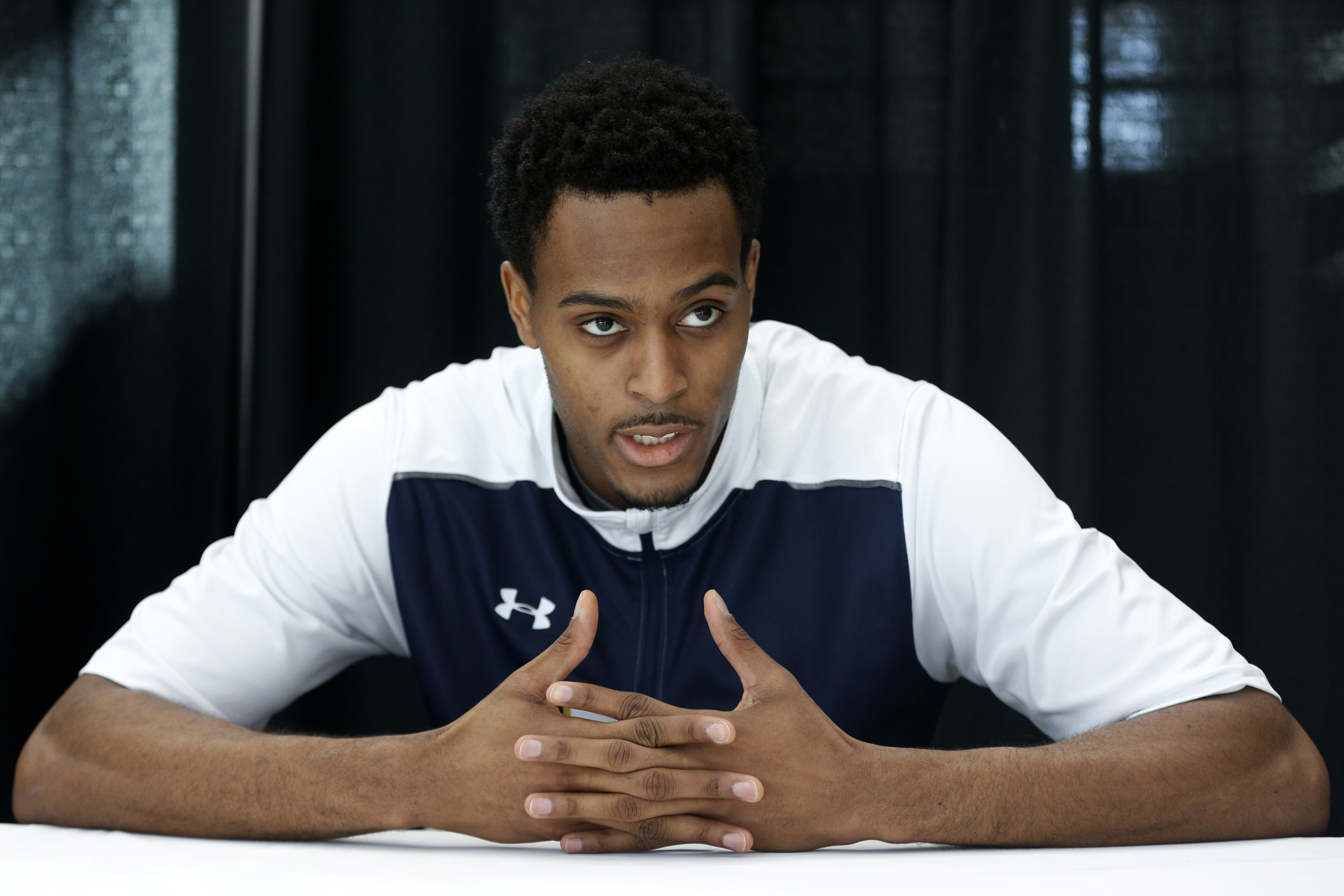 Notre Dame's V.J. Beachem speaks during a college basketball news conference, Saturday, March 26, 2016, in Philadelphia. Notre Dame will play North Carolina on Sunday in the regional finals of the men's NCAA Tournament. (AP Photo/Chris Szagola)