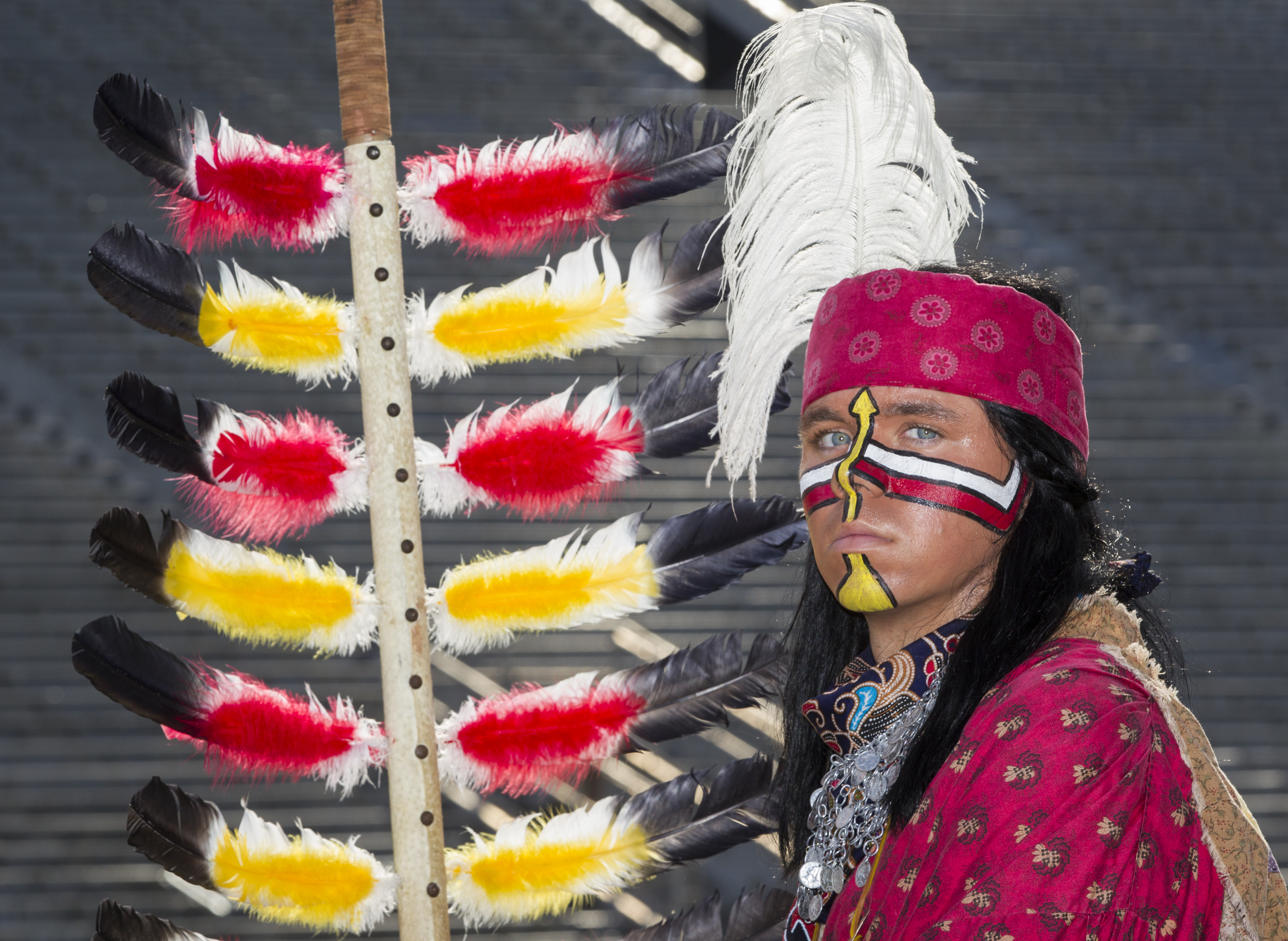 FILE - In this Sunday, Aug. 9, 2015 file photo, Florida State mascot Osceola attends NCAA college football media day in Tallahassee, Fla. Florida State Universitys Student Government Association has passed a resolution discouraging the wearing of Native A