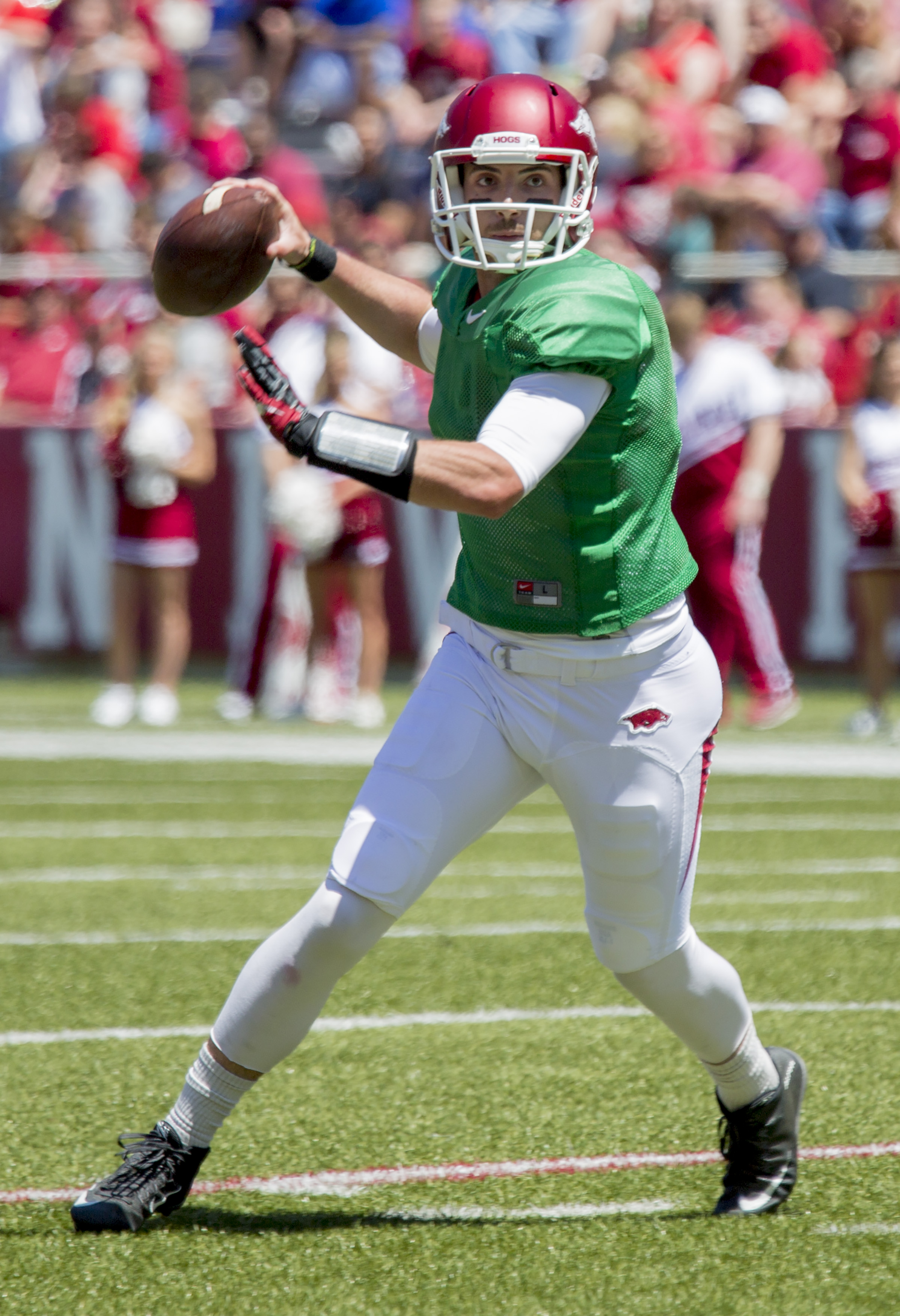 Arkansas quarterback Brandon Allen throws a pass during the Razorback's spring NCAA college football game Saturday, April 25, 2015, in Fayetteville, Ark. (AP Photo/Gareth Patterson)
