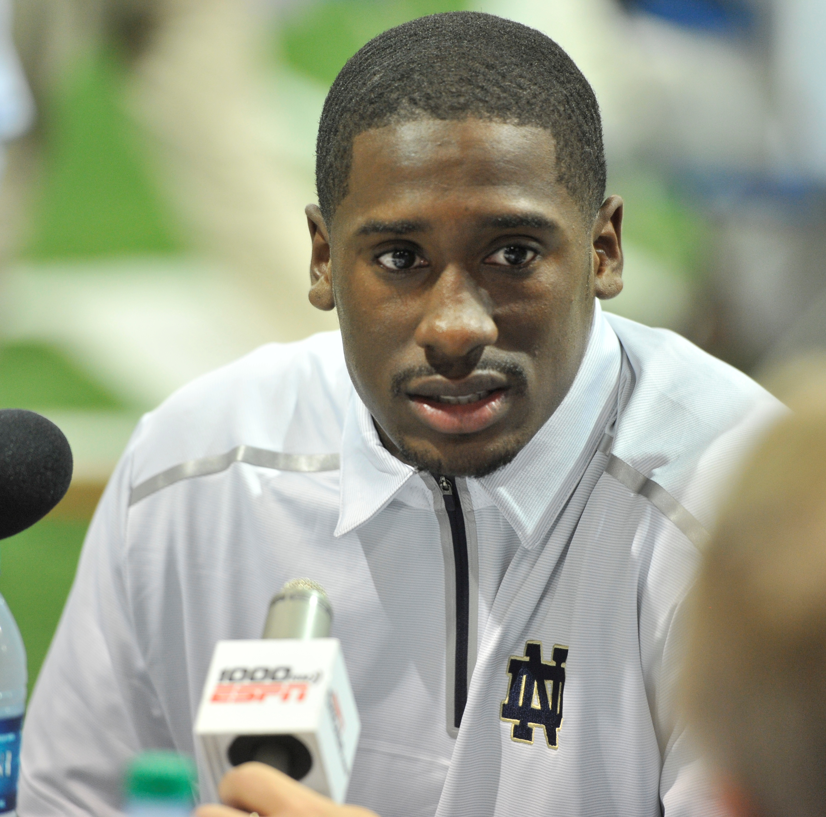 FILE - In this Aug. 19, 2014, file photo, Notre Dame quarterback Everett Golson answers a question during media day for the NCAA college football team in South Bend, Ind. Golson has announced he is leaving Notre Dame and will use his final season of eligi
