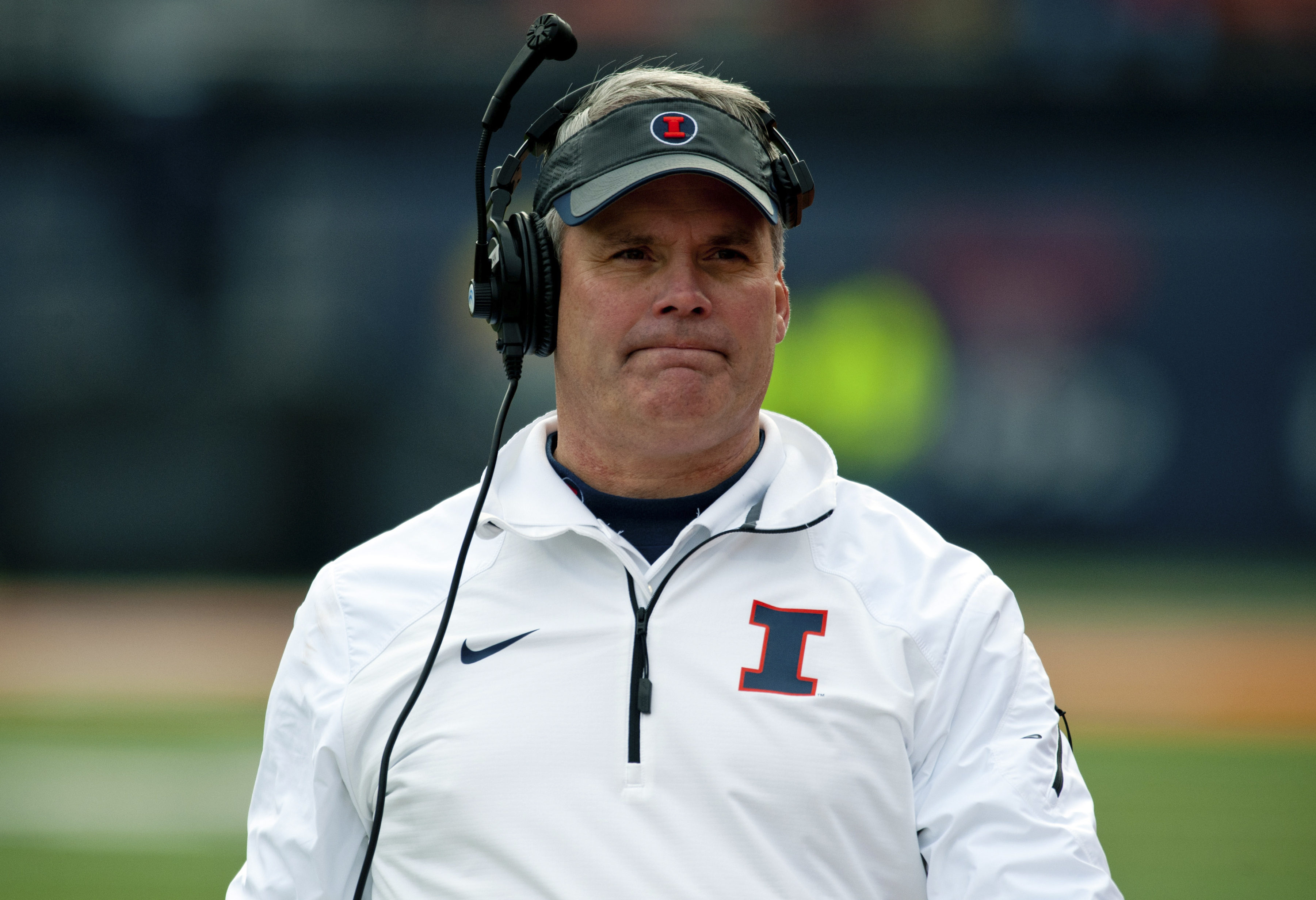 Illinois head coach Tim Beckman walks the sidelines during the first quarter of an NCAA football game against Penn State Saturday, Nov. 22, 2014, at Memorial Stadium in Champaign, Ill. (AP Photo/Bradley Leeb)