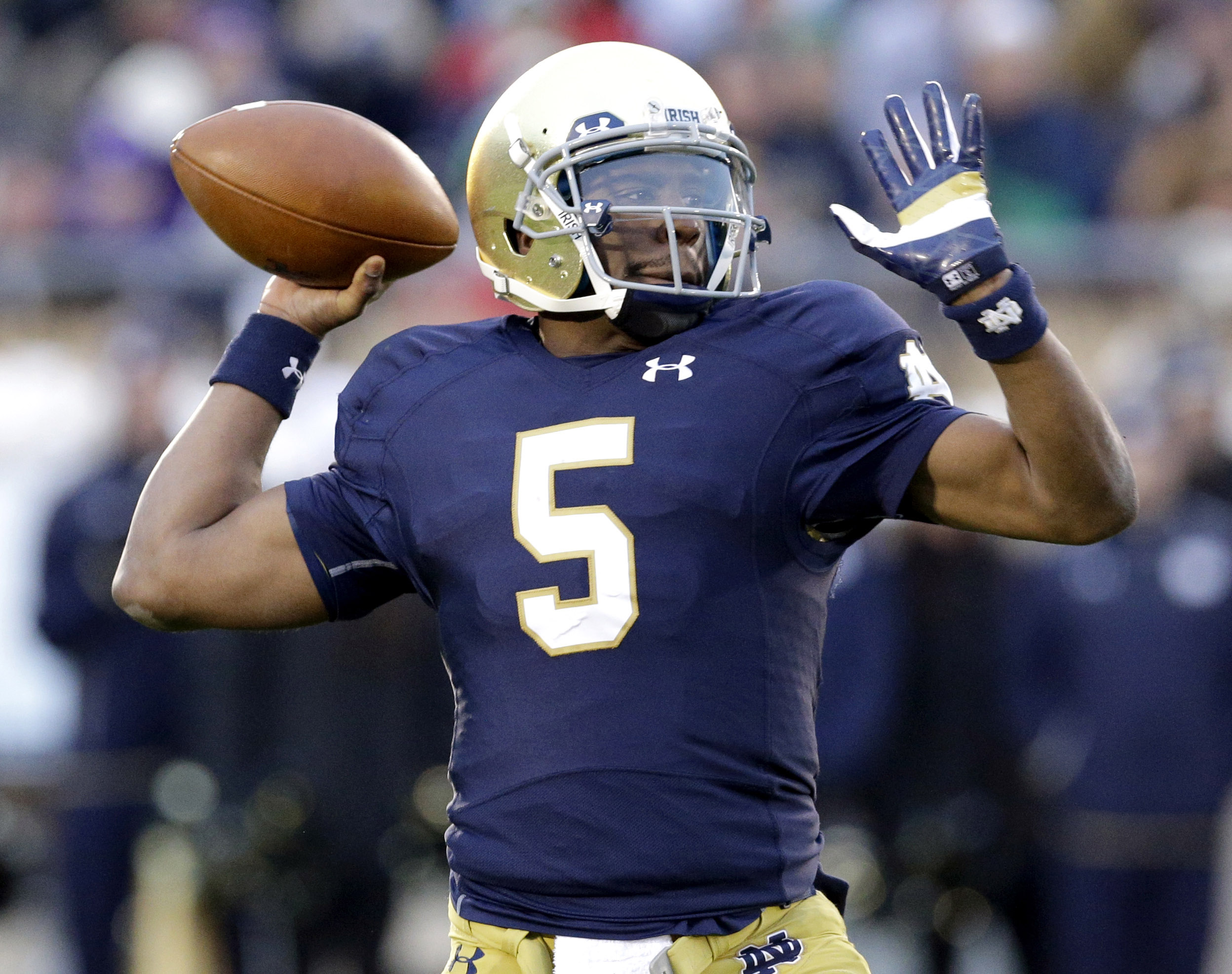 FILE - In this Saturday, Nov. 15, 2014 file photo, Notre Dame quarterback Everett Golson (5) looks to a pass during the first half of an NCAA college football game against Northwestern in South Bend, Ind. Florida State coach Jimbo Fisher says he has met w