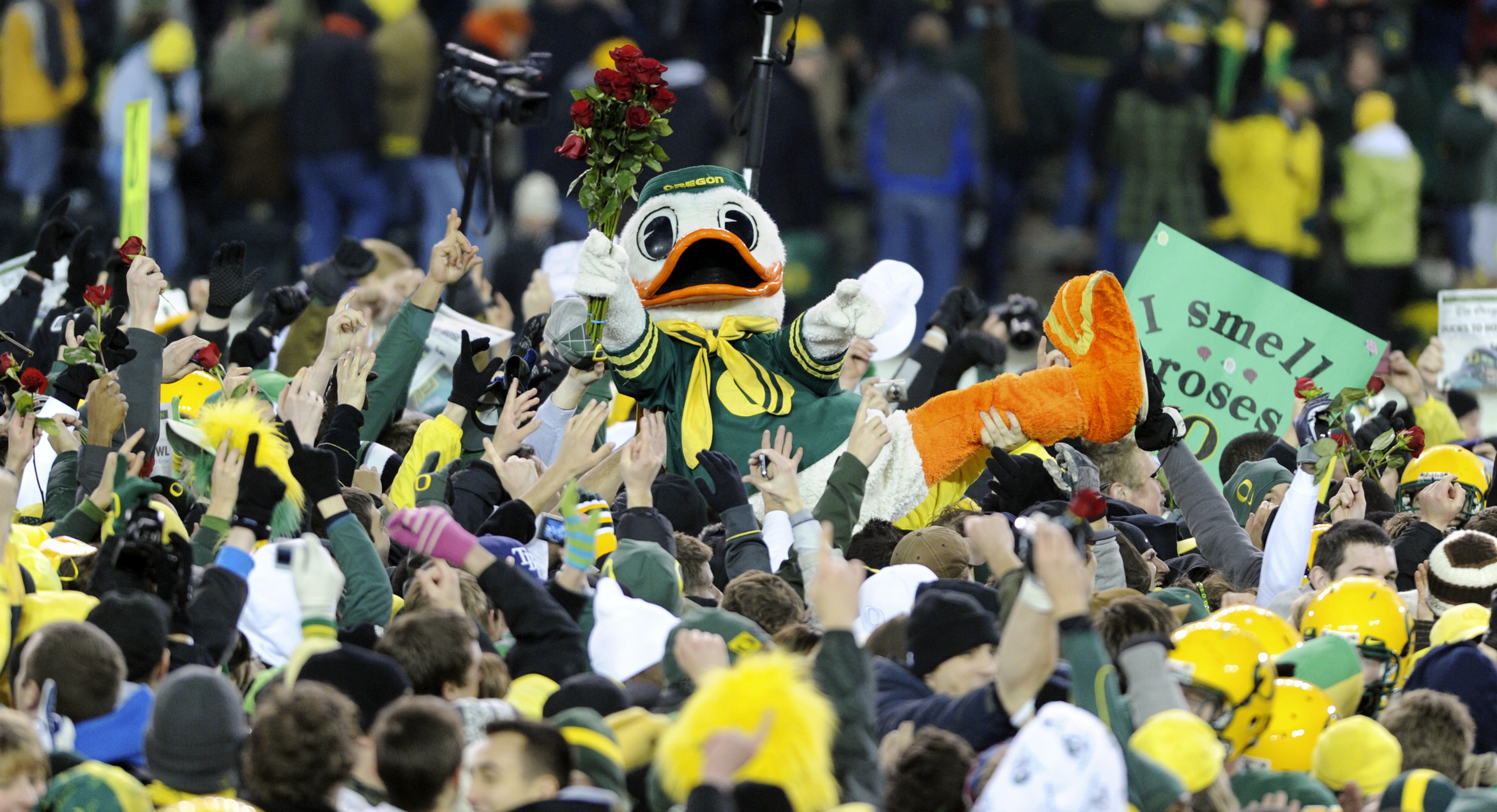 Oregon's duck mascot is hoisted above celebrating fans and players, carrying a bunch of red roses, at the end of an NCAA college football game in Eugene, Ore., Thursday, Dec. 3, 2009. Oregon beat Oregon State 37-33. (AP Photo/Greg Wahl-Stephens)