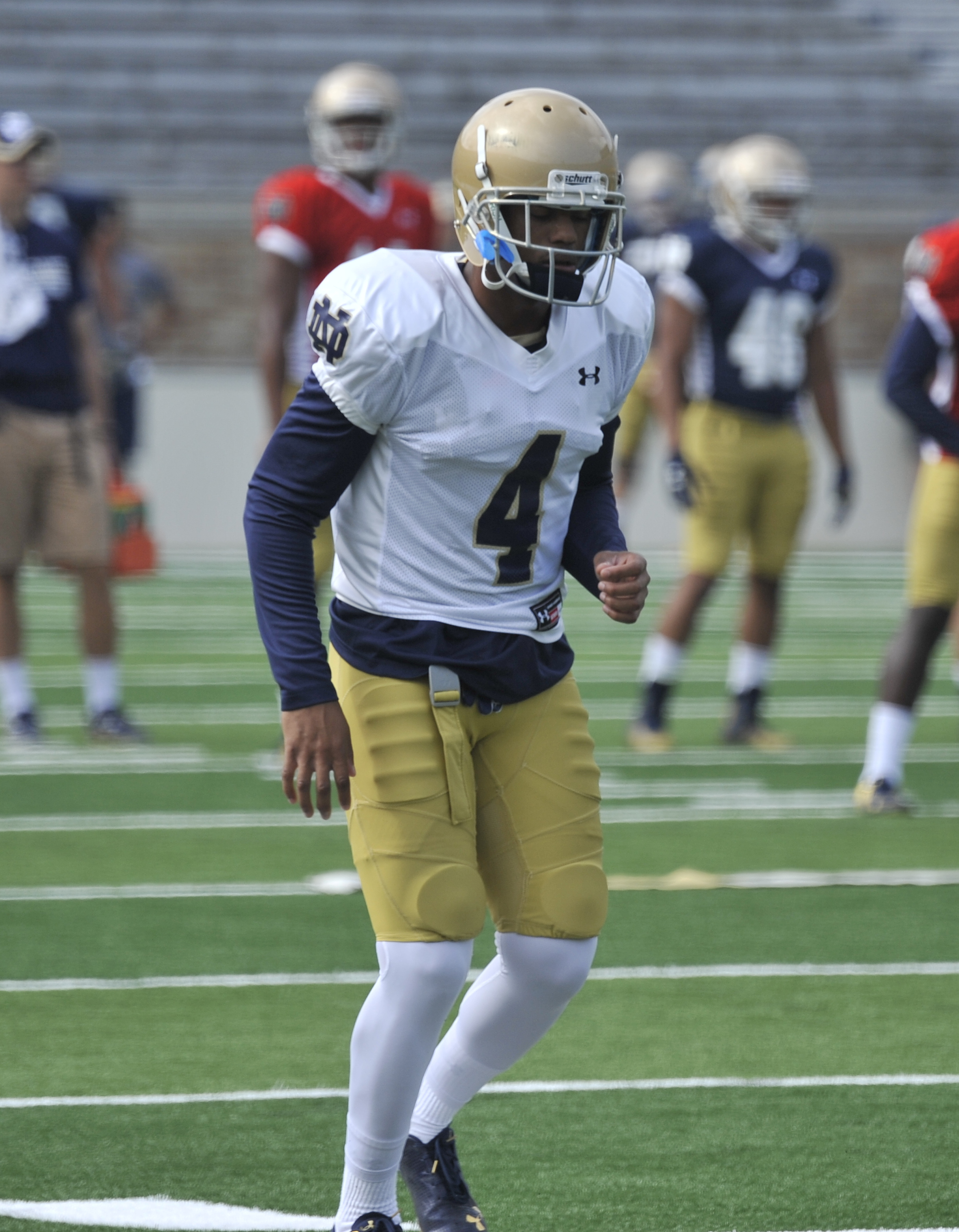 Notre Dame safety Eilar Hardy loosens up during practice of an NCAA college football team in South Bend, Ind. Aug. 16, 2014.  (AP Photo/Joe Raymond)