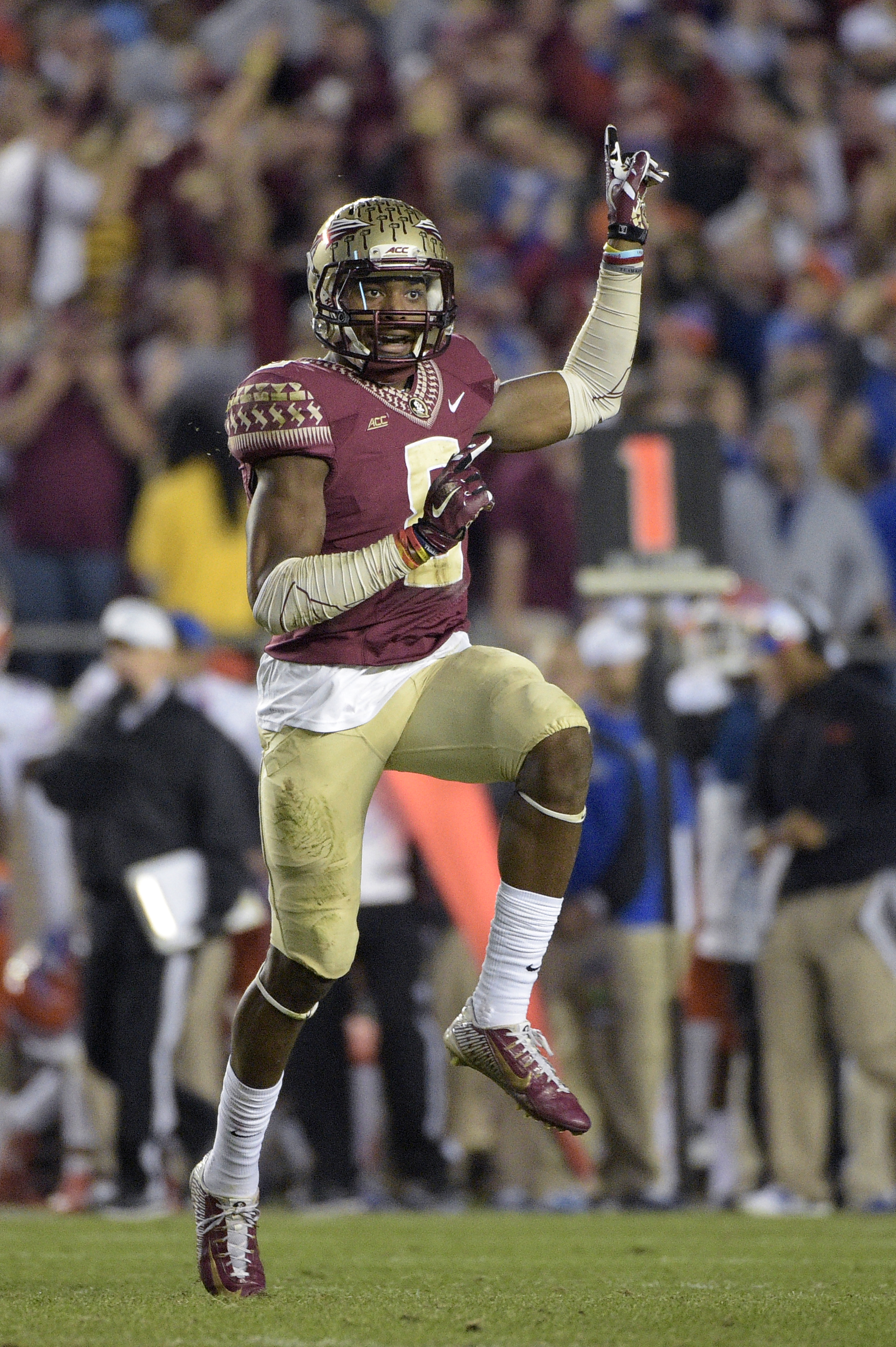 FILE - In this Nov. 29, 2014, file photo, Florida State defensive back Jalen Ramsey (8) reacts to a play during the second half of an NCAA college football game against Florida in Tallahassee, Fla. Ramsey has already been a national champion and All-Ameri