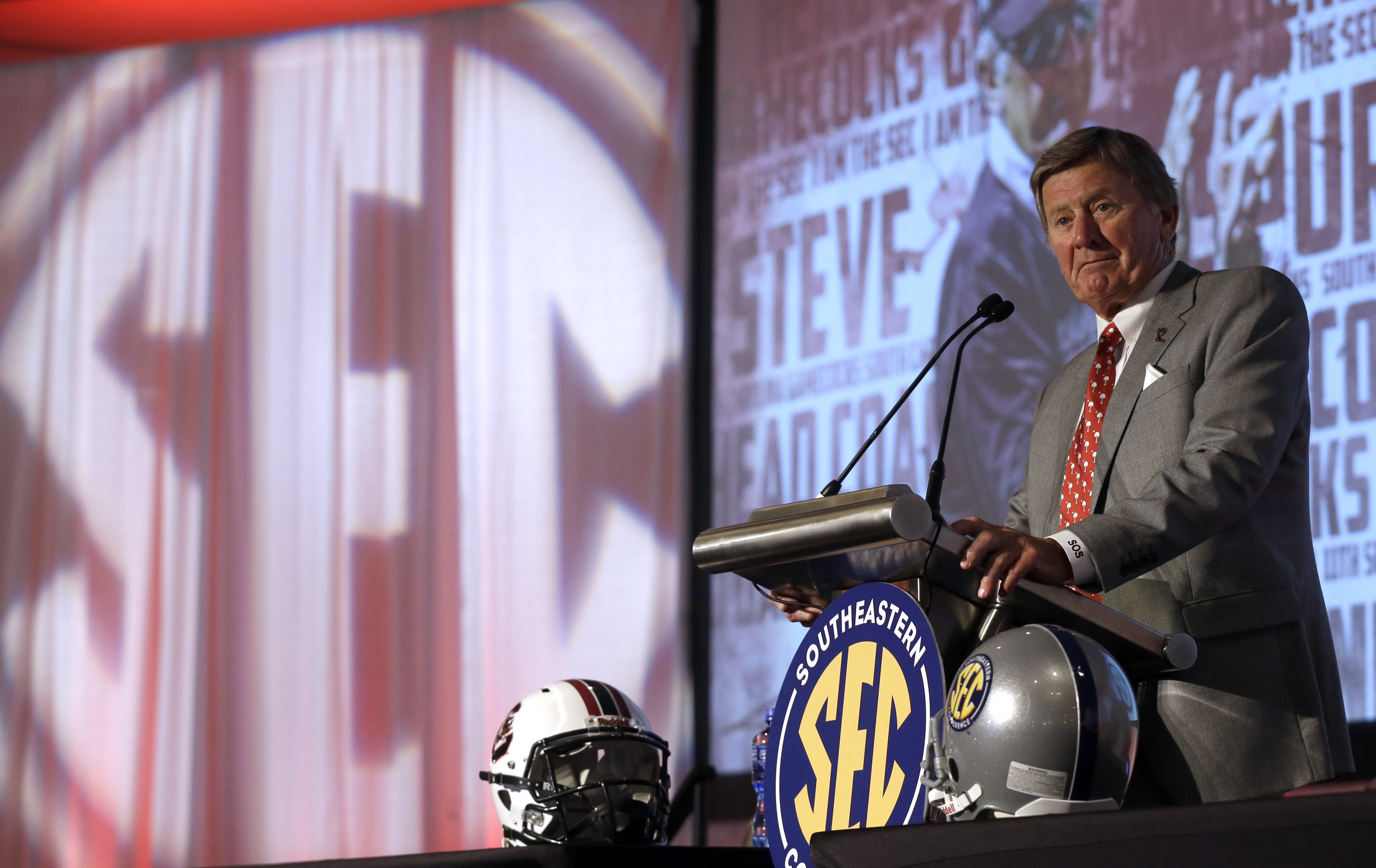 South Carolina coach Steve Spurrier speaks to the media at the Southeastern Conference NCAA college football media days, Tuesday, July 14, 2015, in Hoover, Ala. (AP Photo/Butch Dill)