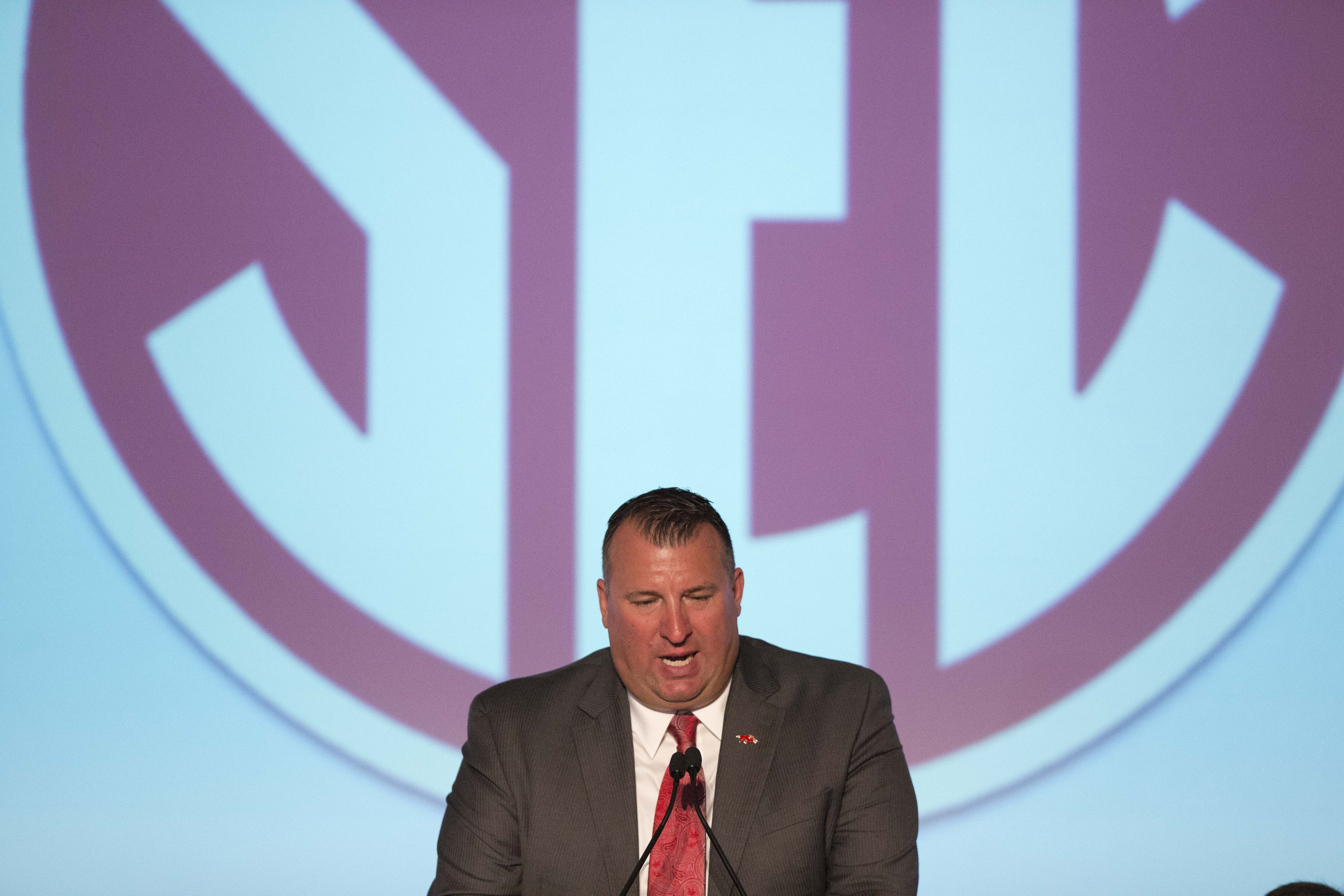 Arkansas coach Bret Bielema speaks to the media at the Southeastern Conference NCAA college football media days, Wednesday, July 15, 2015, in Hoover, Ala. (AP Photo/Brynn Anderson)