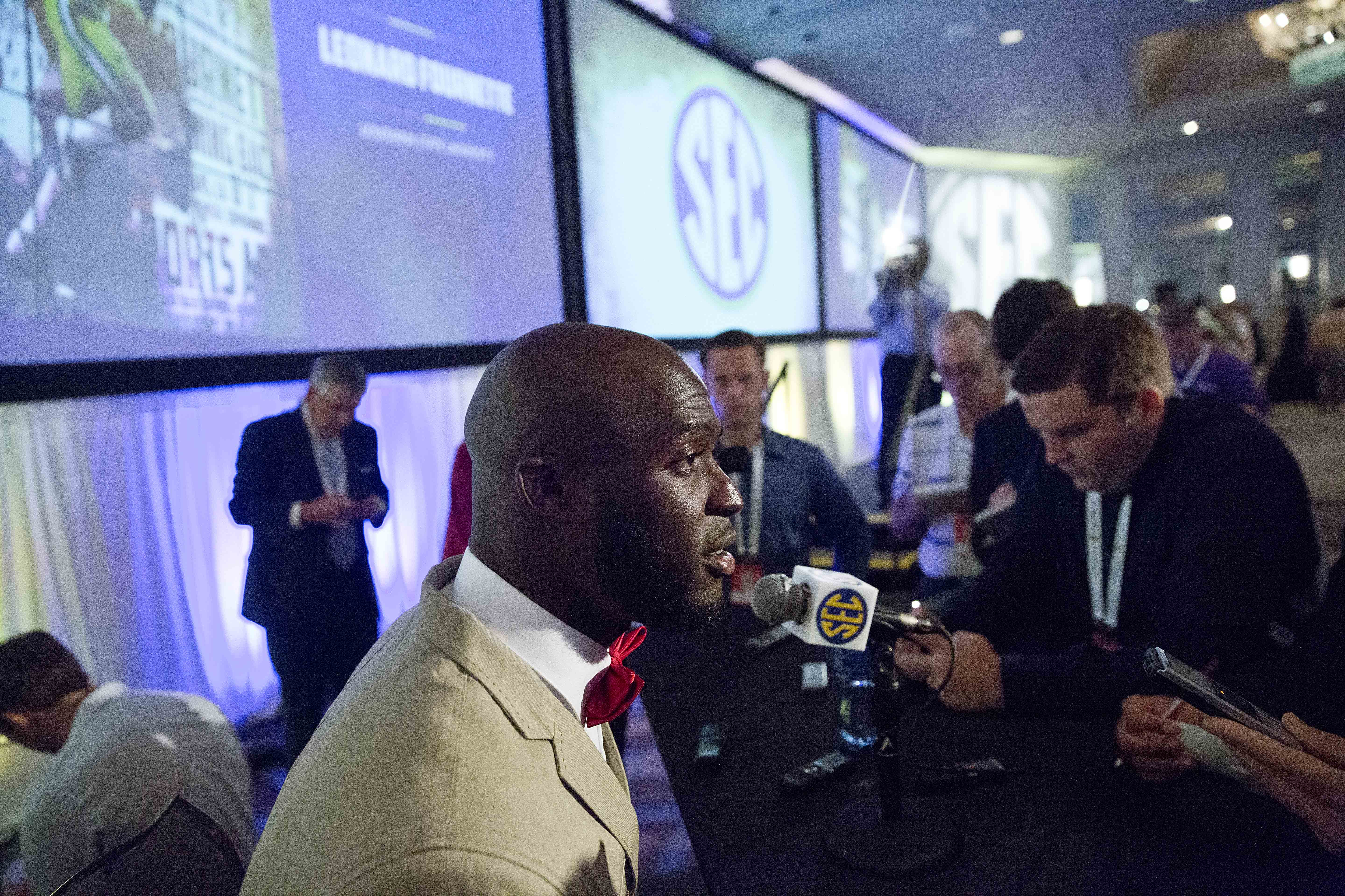 LSU running back Leonard Fournette speaks to the media at the Southeastern Conference NCAA college football media days, Thursday, July 16, 2015, in Hoover, Ala. (AP Photo/Brynn Anderson)