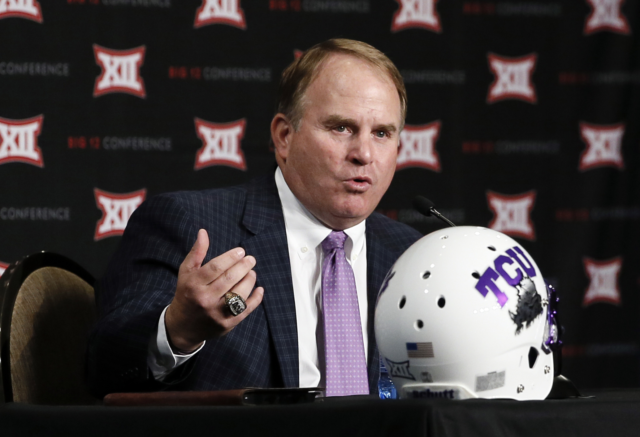 TCU head football coach Gary Patterson responds to questions from reporters at Big 12 Conference Football Media Days Monday, July 20, 2015, in Dallas. (AP Photo/Tony Gutierrez)